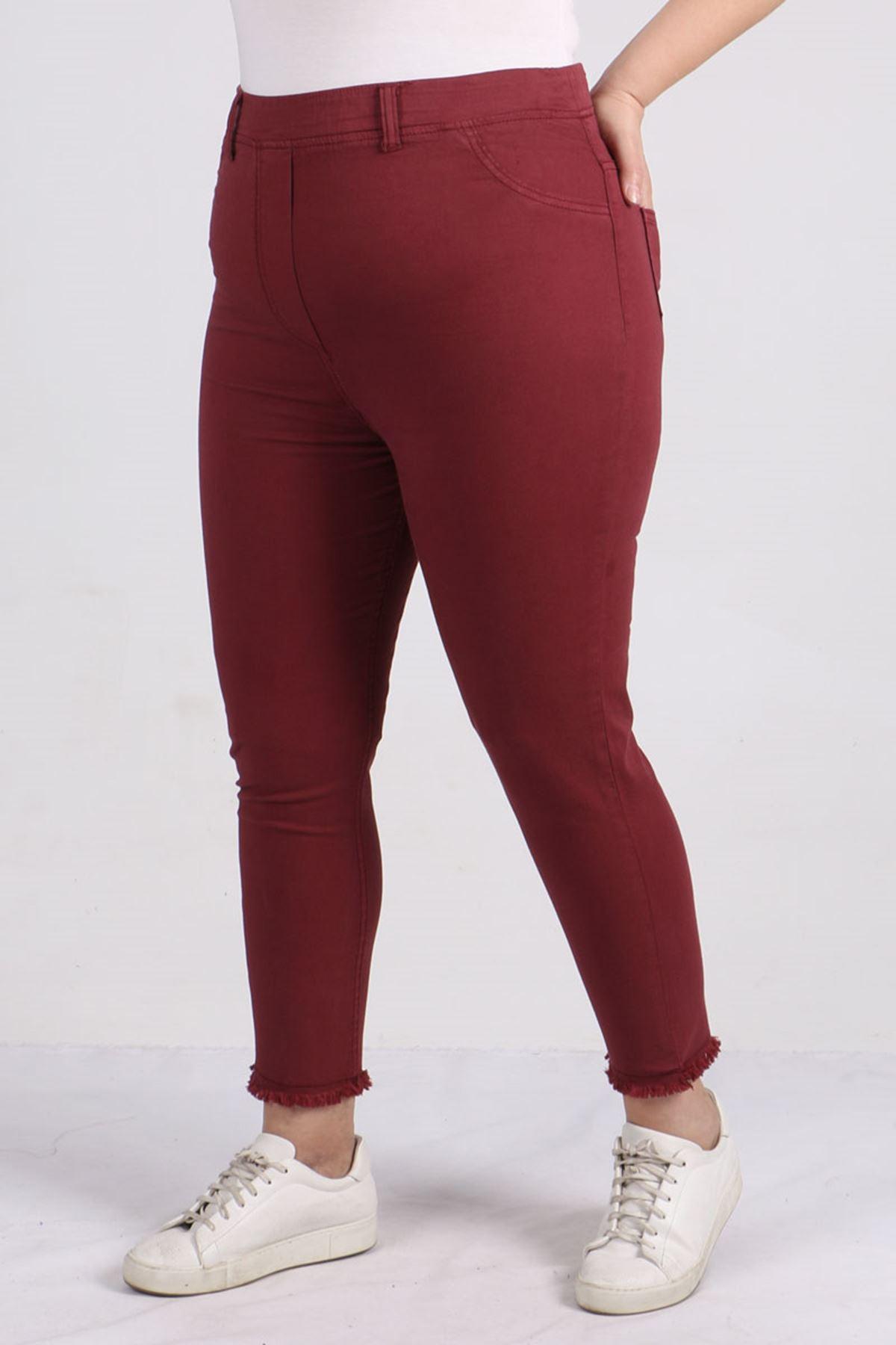 9151 Tasseled Skinny Leg Plus Size Pants - Claret Red