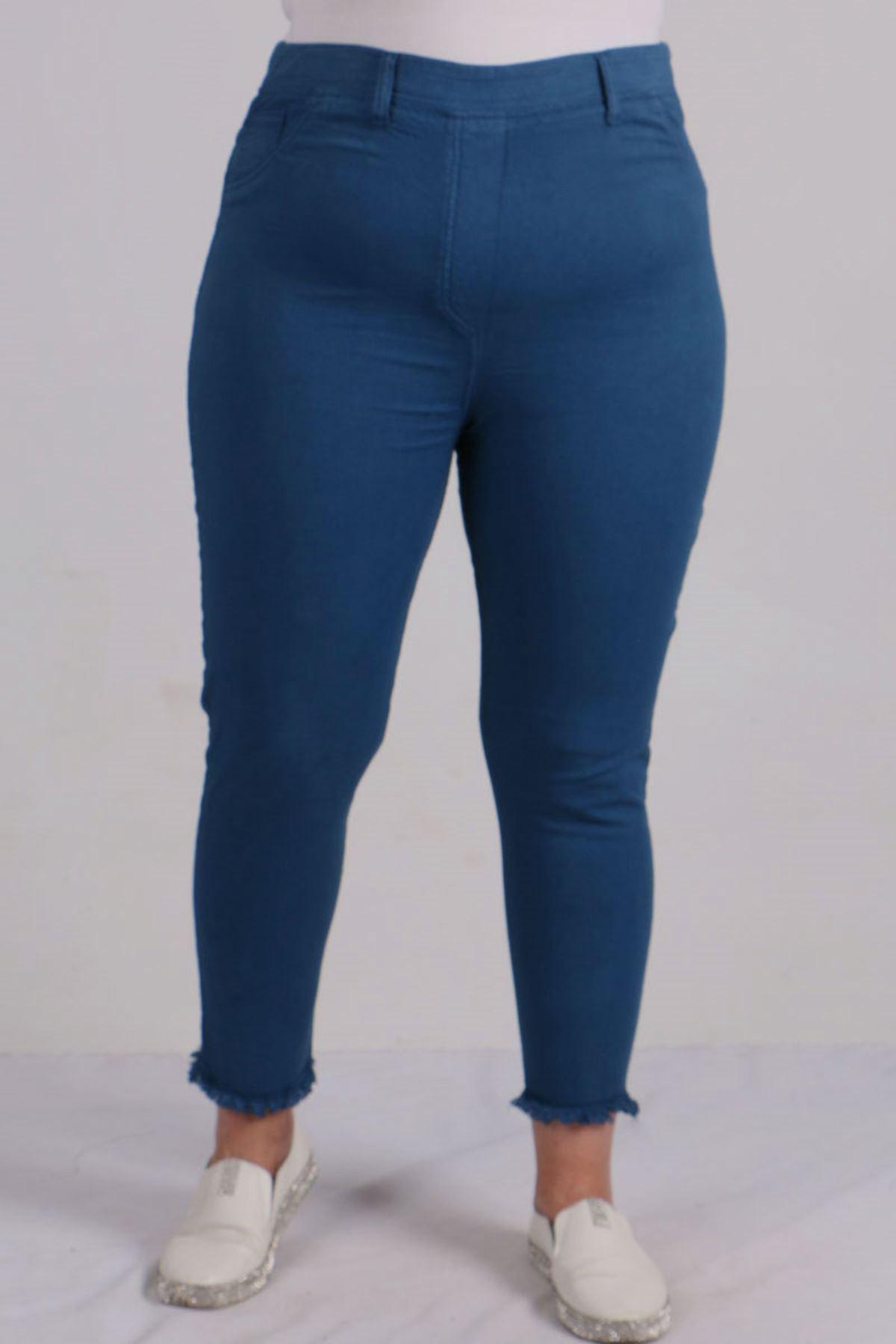 9151 Tasseled Skinny Leg Plus Size Pants - Indigo