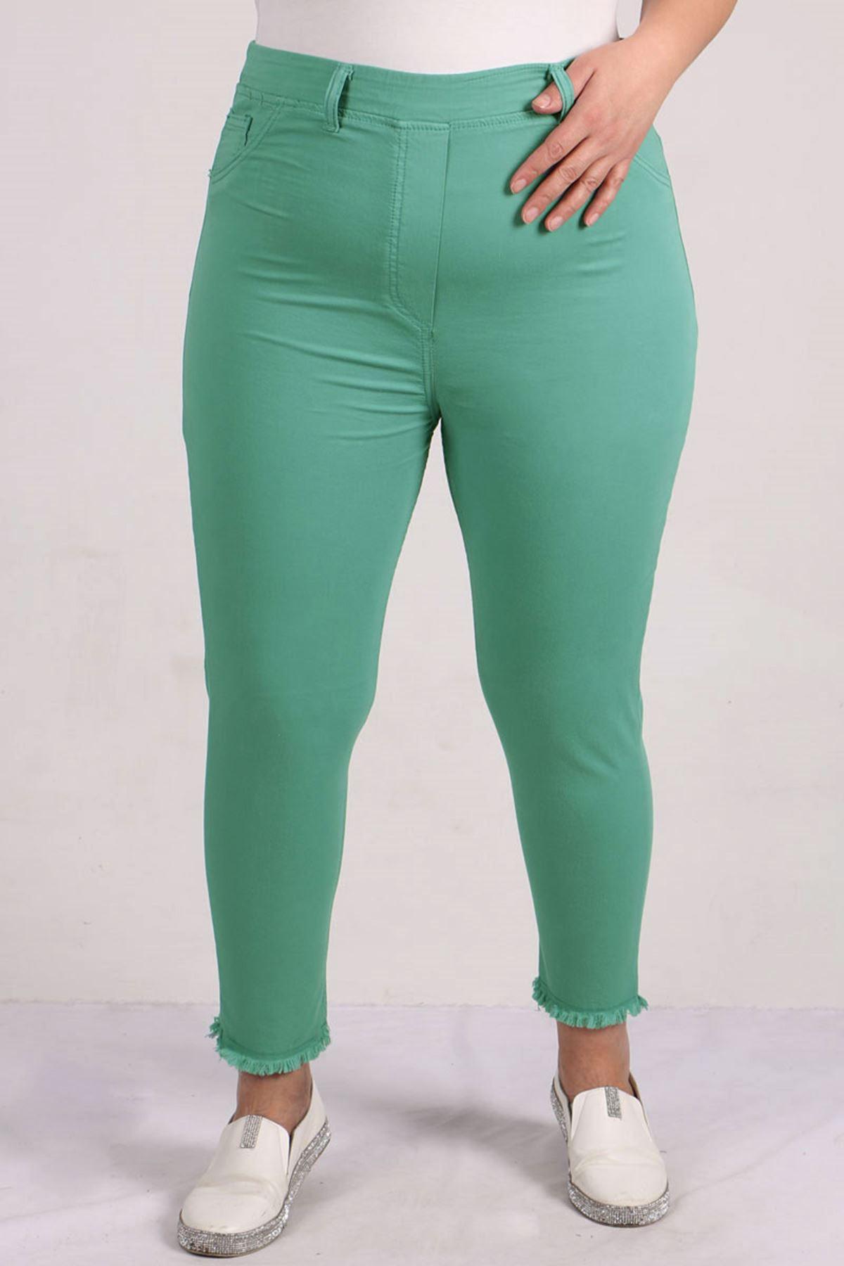 9151 Tasseled Skinny Leg Plus Size Pants - Naphtha Green