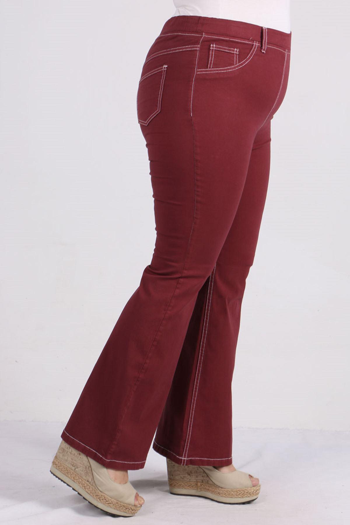 9143 Plus Size Elastic Waist Flared Pants-  Claret Red