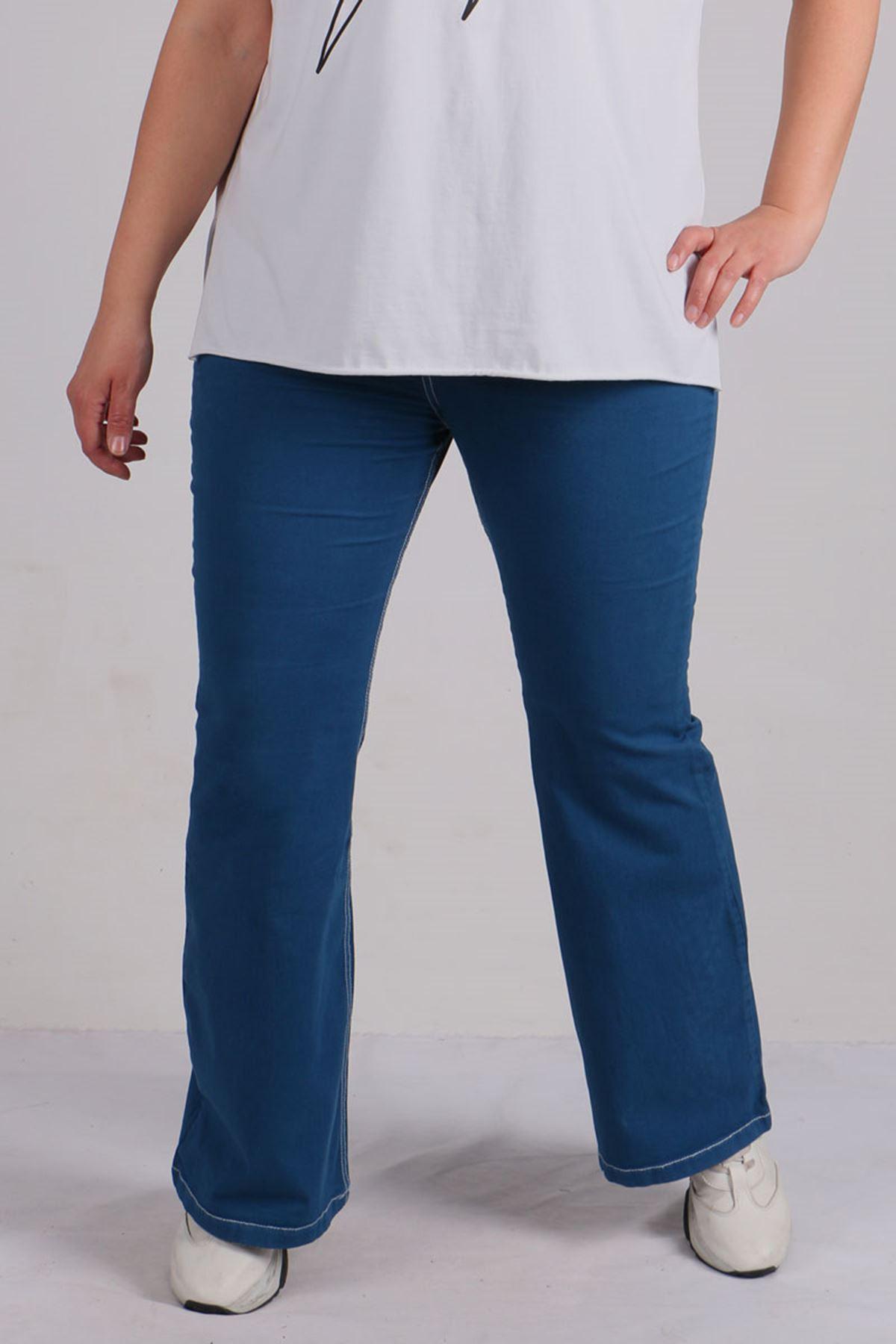 9143 Plus Size Elastic Waist Flared Pants- Indigo