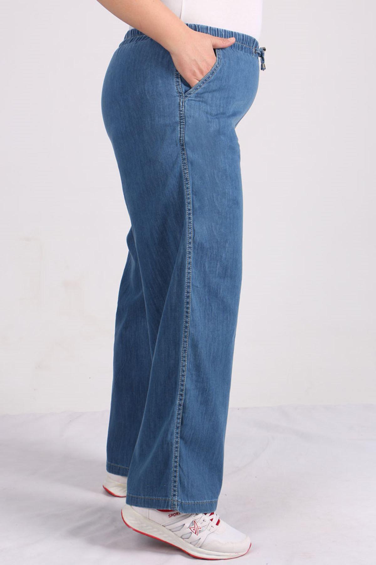 9124 Plus Size Elastic Waist Wide Leg Jeans - Light Navy Blue