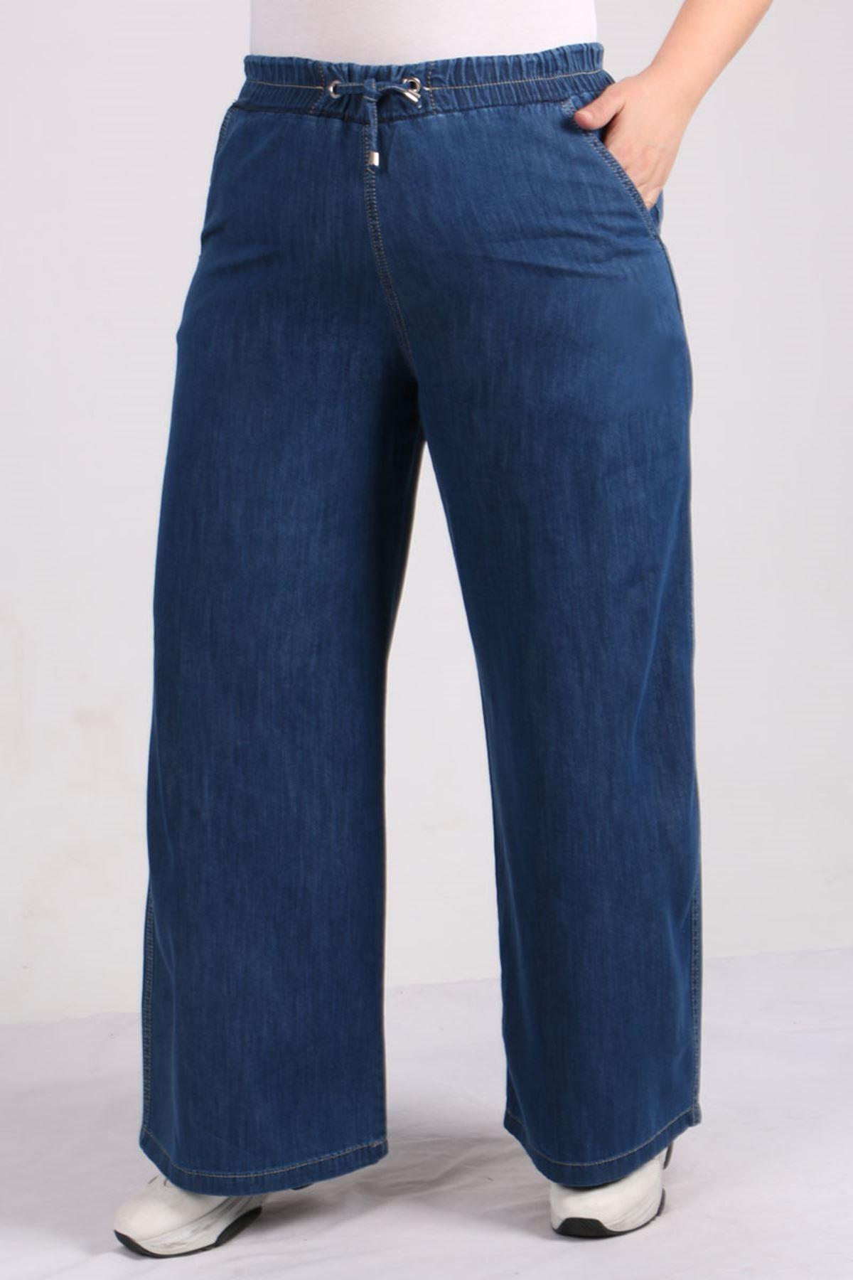 9124 Plus Size Elastic Waist Wide Leg Jeans - Dark Blue