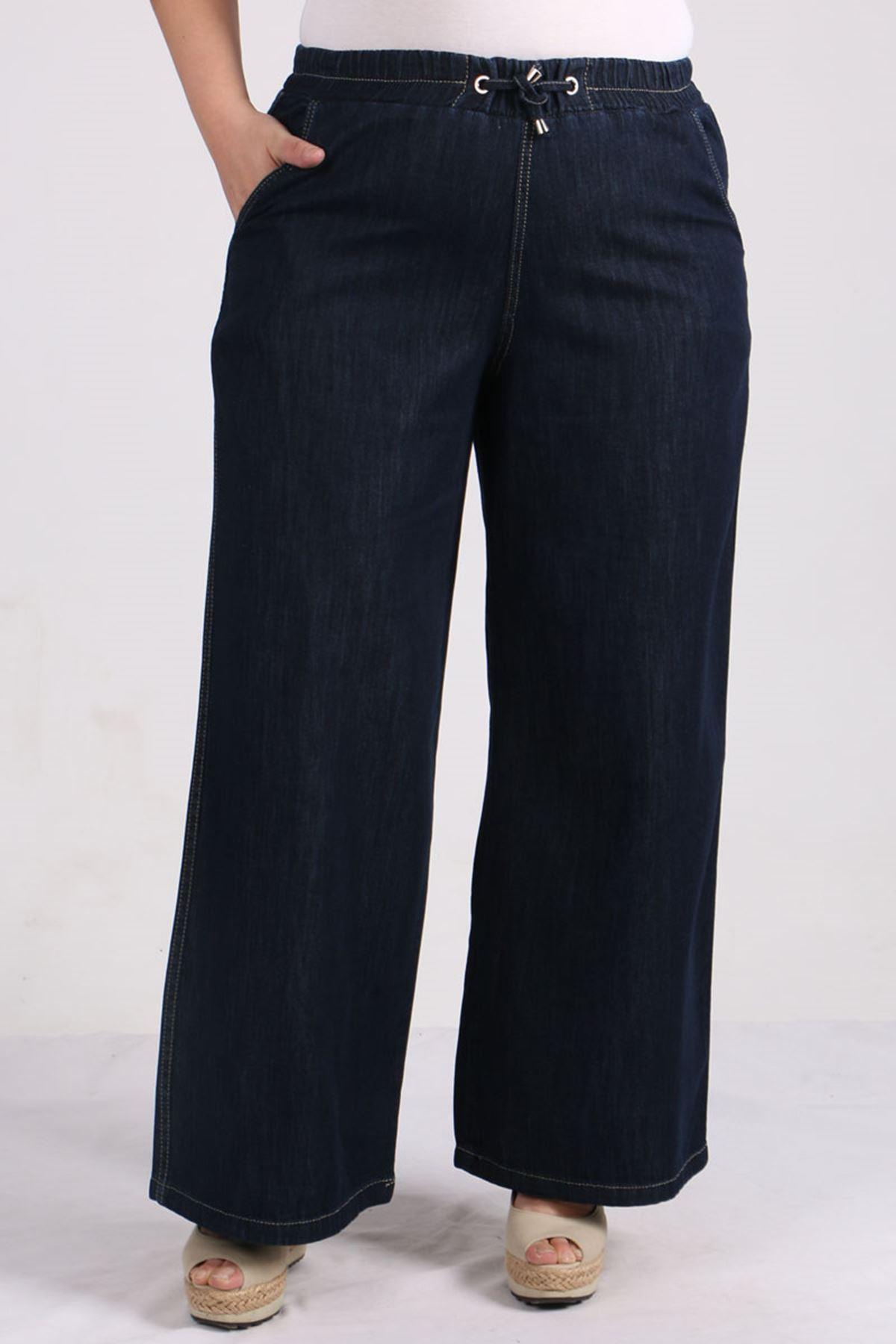 9124 Plus Size Elastic Waist Wide Leg Jeans - Dark Navy Blue