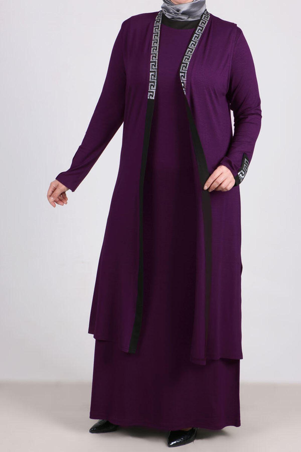 7211 طقم فستان و سترة بدون أكمام  مقاس كبير - ارجواني