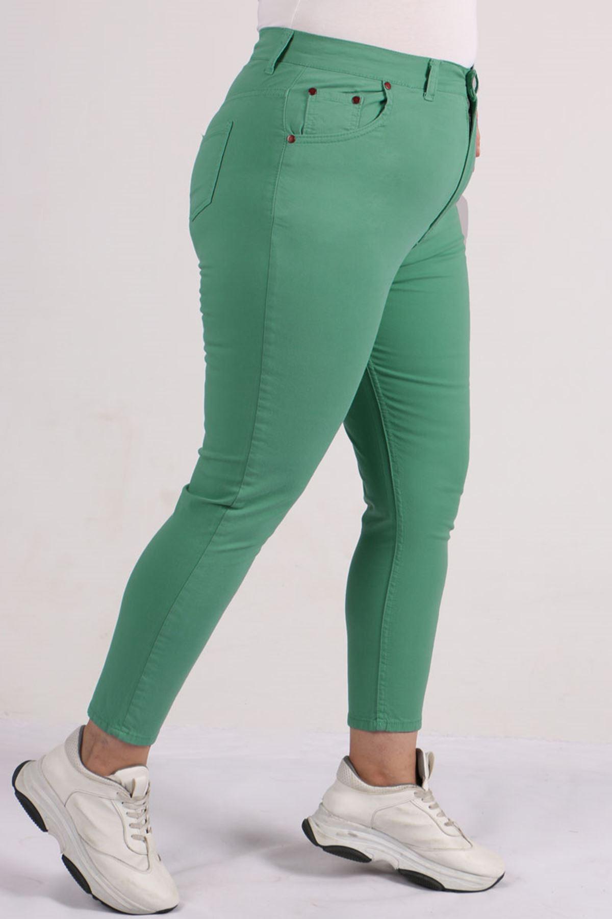 9115 Plus Size Skinny Leg Pants - Naphtha Green