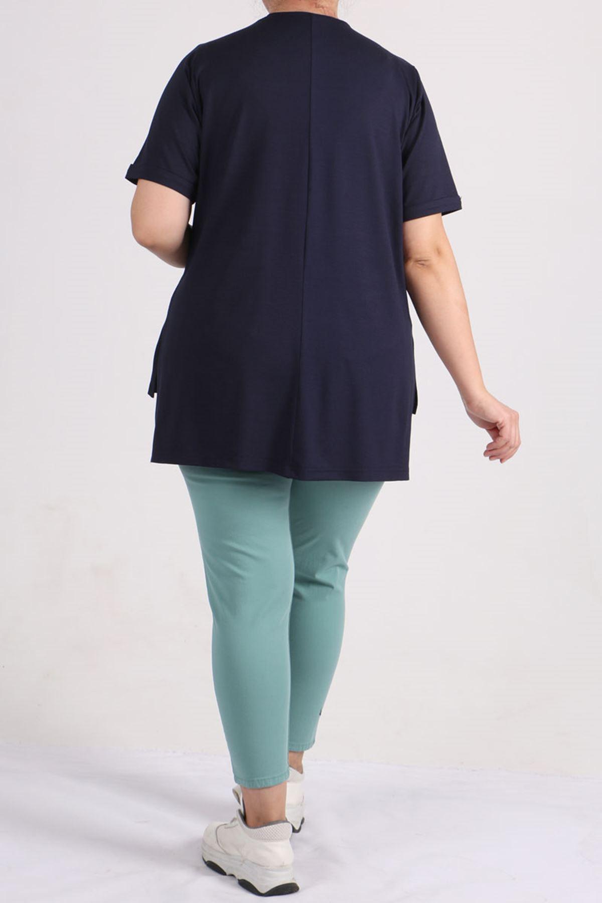 8529 Plus Size Basic T-shirt - Navy Blue