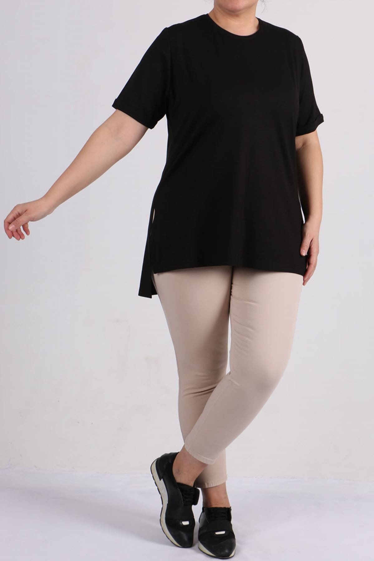 8529 Plus Size Basic T-shirt - Black
