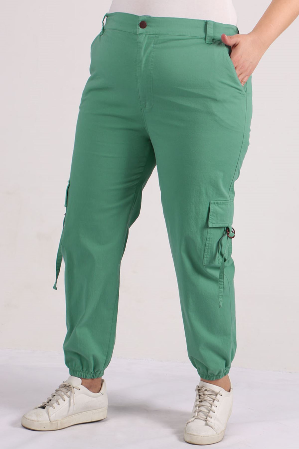 9128 Plus Size Cargo Pants with Pockets - Naphtha Green