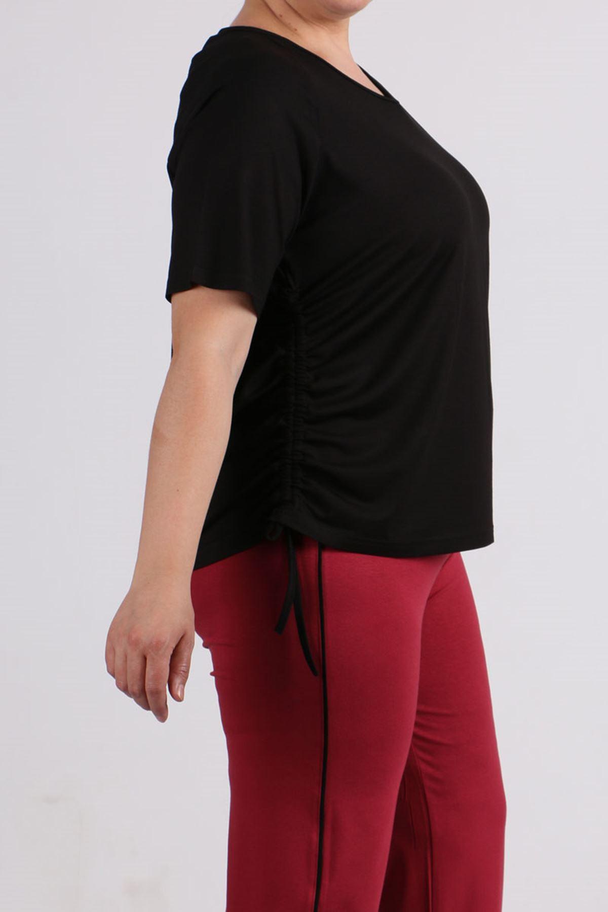 8530 Büyük Beden Penye Reglan Kol Tişört - Siyah