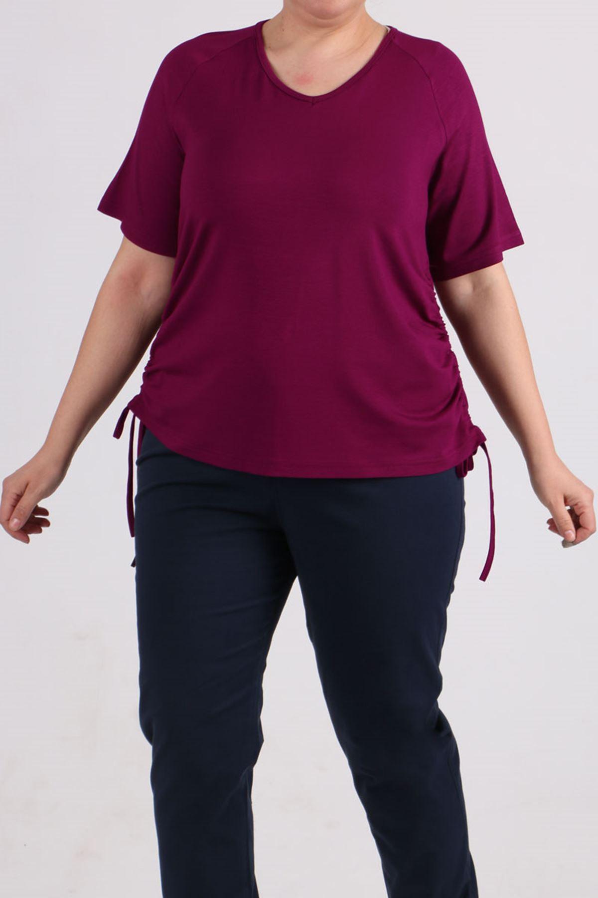 8530 Plus Size Raglan Sleeve T-Shirt - Plum