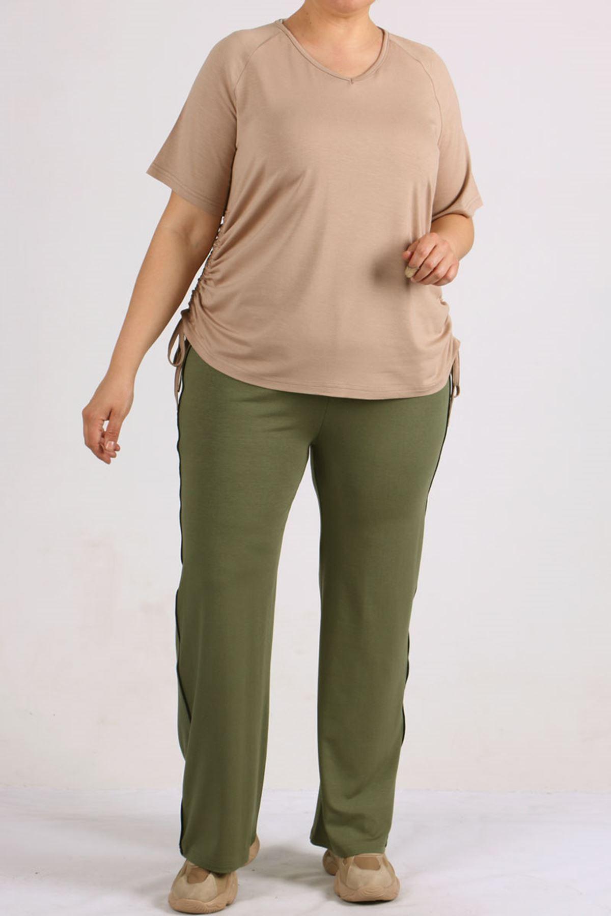 8530 Plus Size Raglan Sleeve T-Shirt - Stone