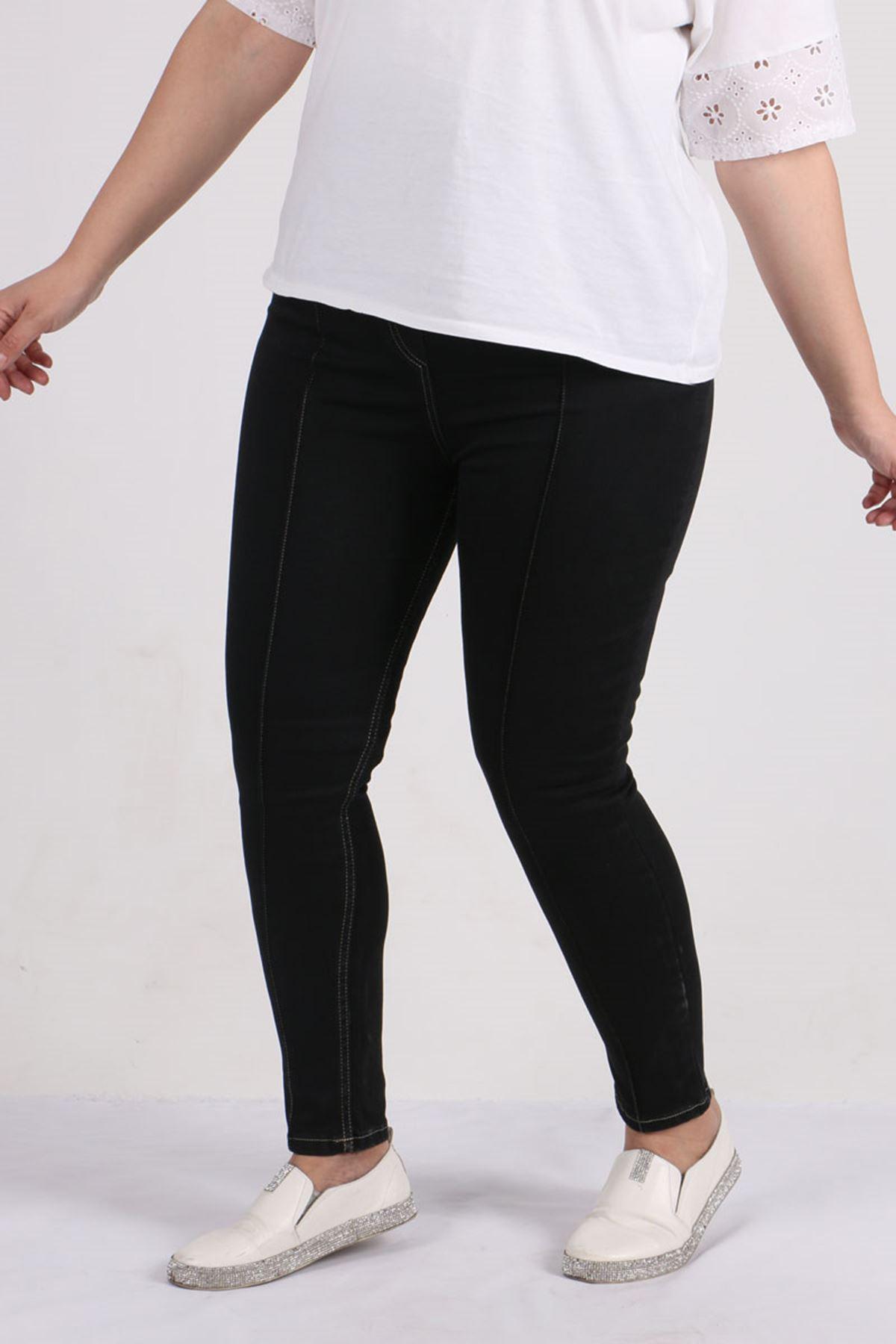 9127 Plus Size Skinny Leg Jeans- Black