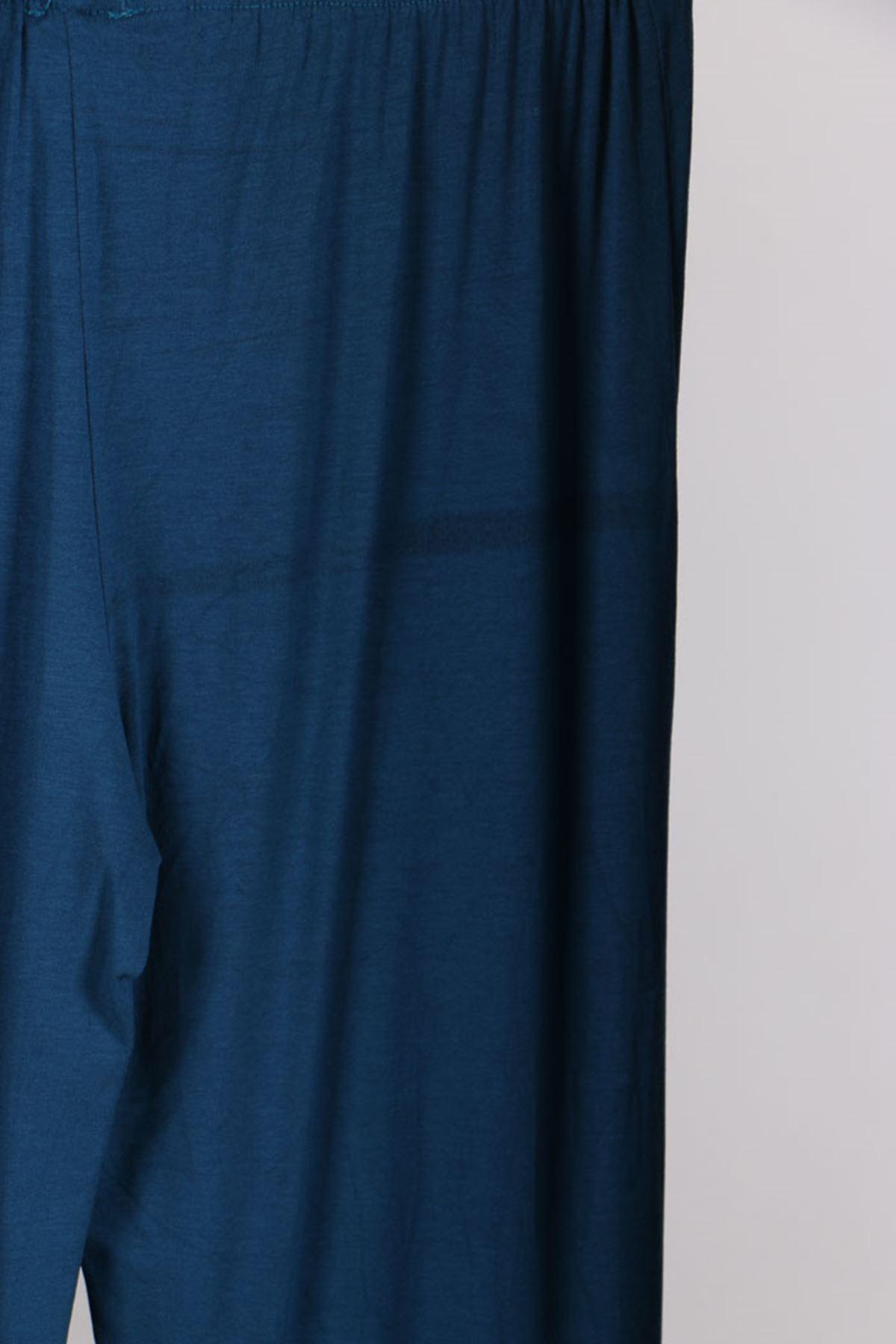 D-27598-4 Büyük Beden Pul Payetli Penye Defolu Pantolon-Petrol