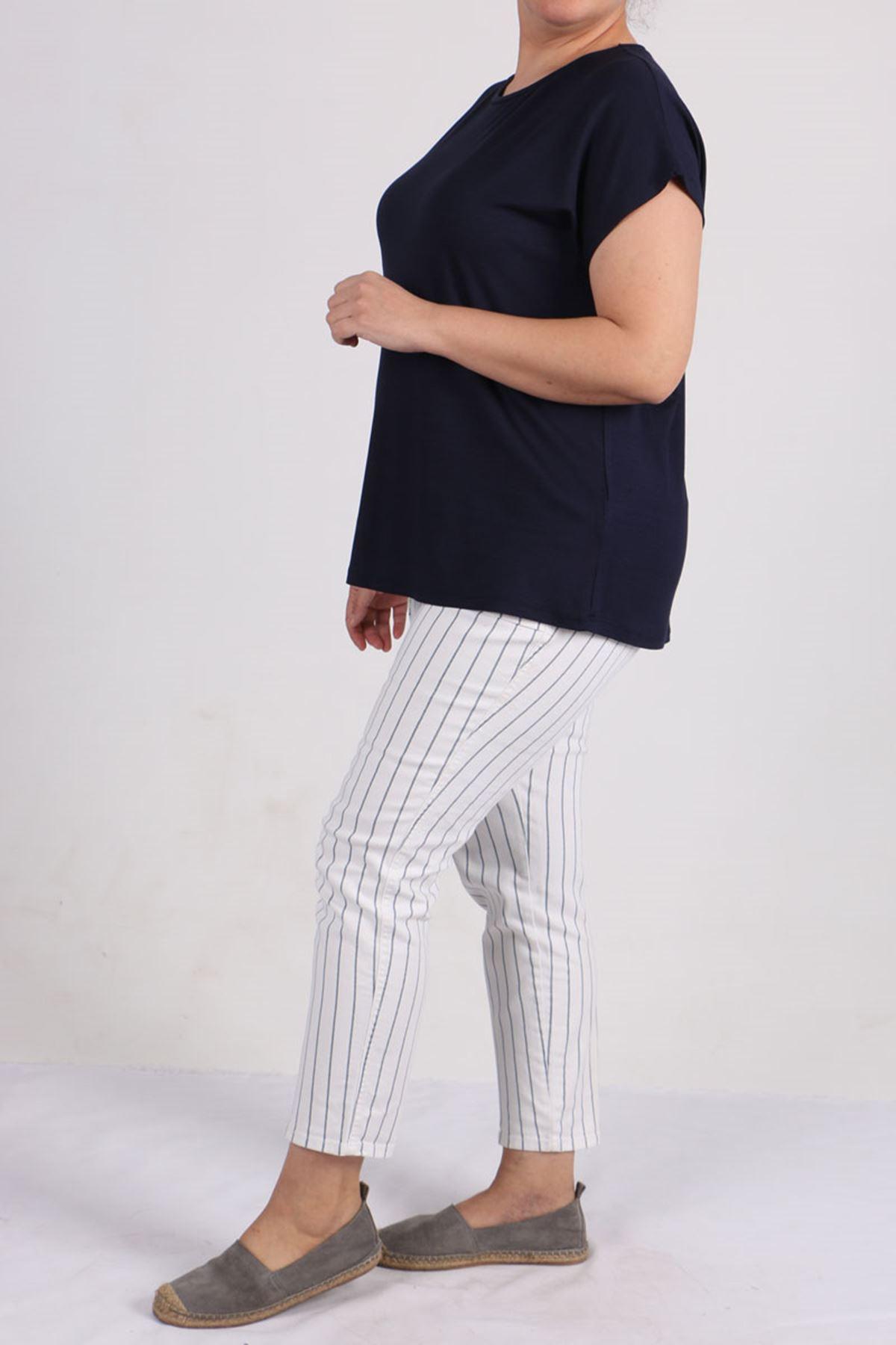 8531 Plus Size Basic T-shirt - Navy Blue