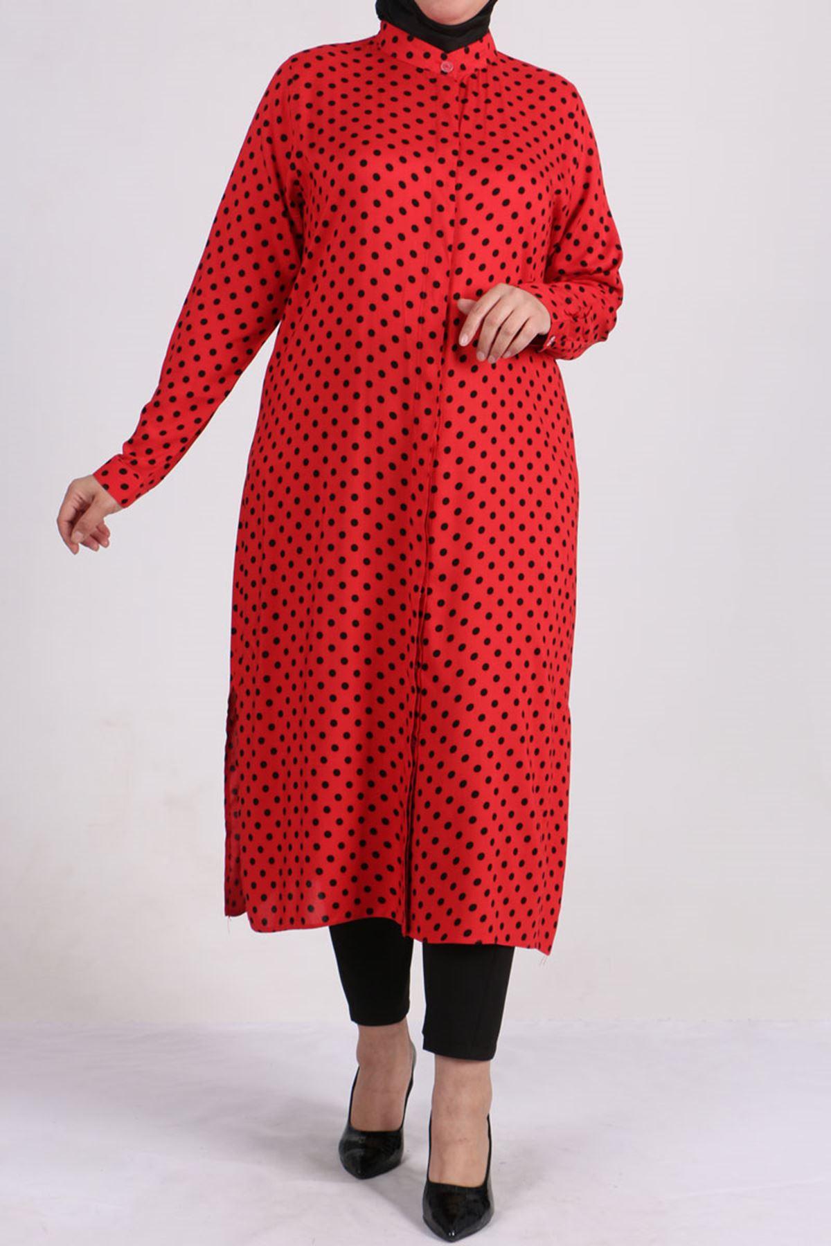 8462 قميص مقاس كبير - أسود - احمر منقط
