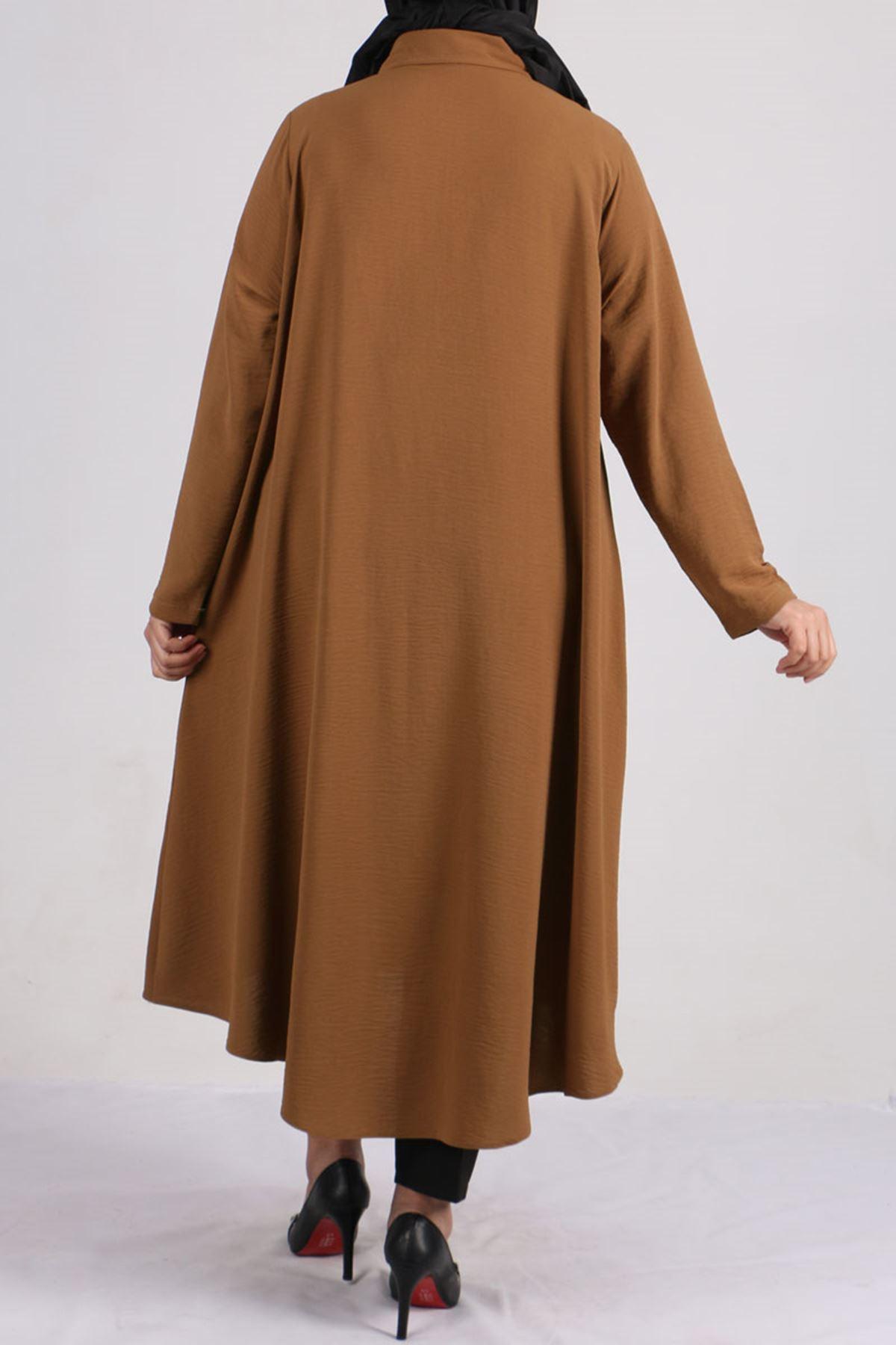 8225 Plus Size Hidden Buttoned Shirt -Saxe