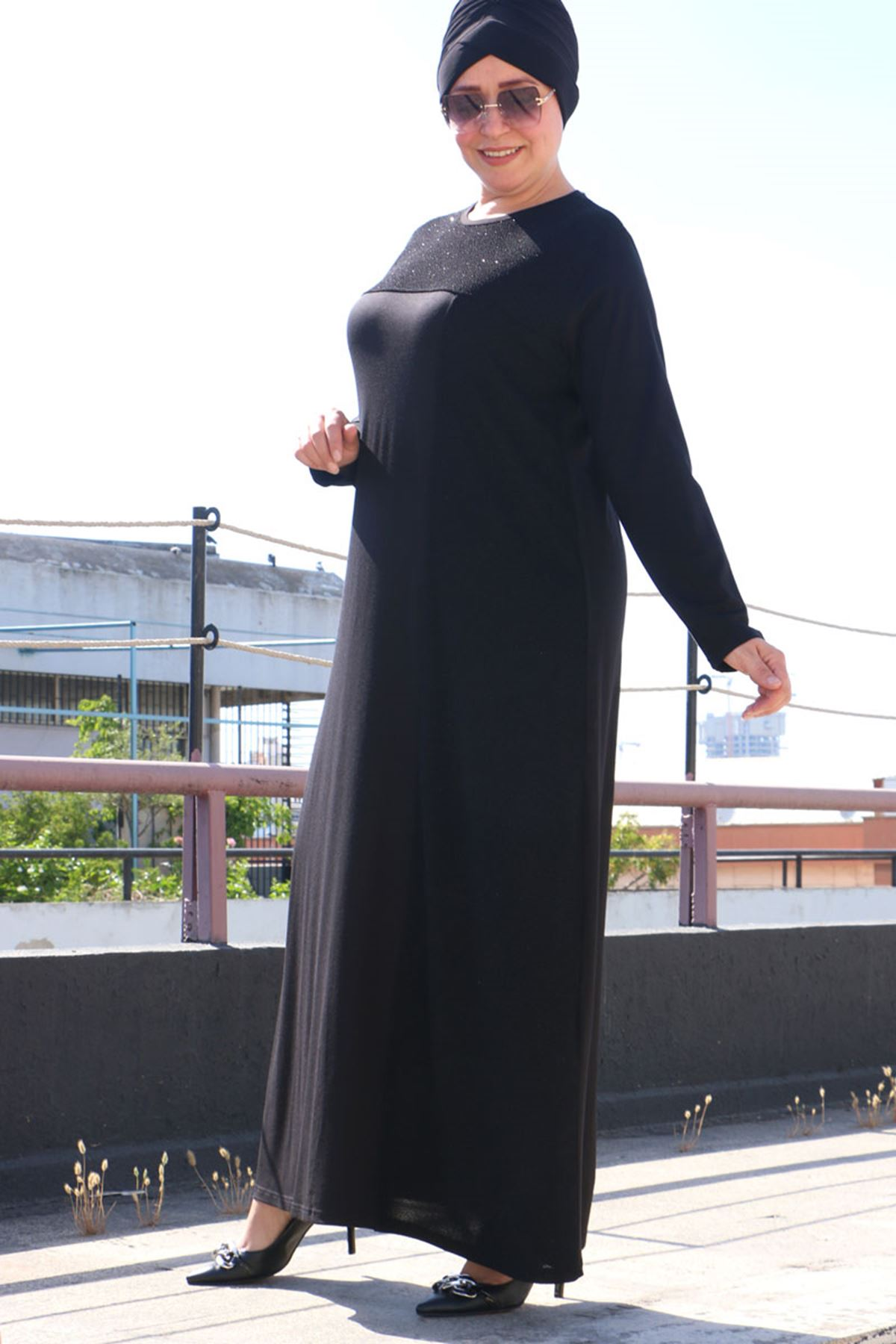 2092 فستان مقاس كبير- اسود