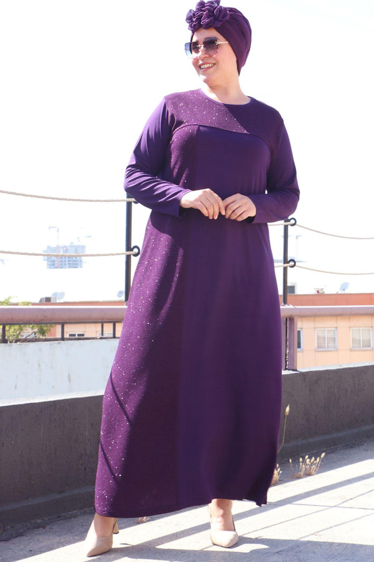 2092 فستان مقاس كبير- ارجواني