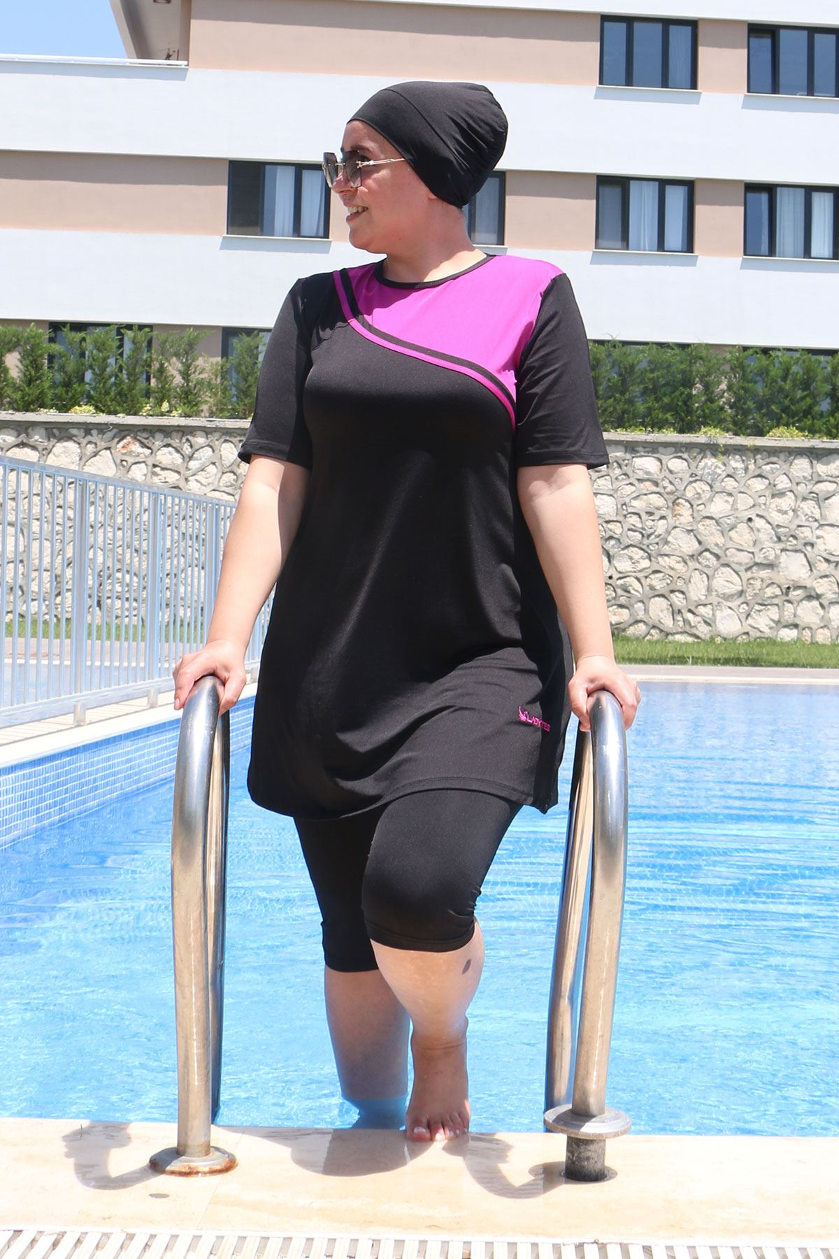 2335 Plus Size Front Striped Half Covered Swimsuit - Black