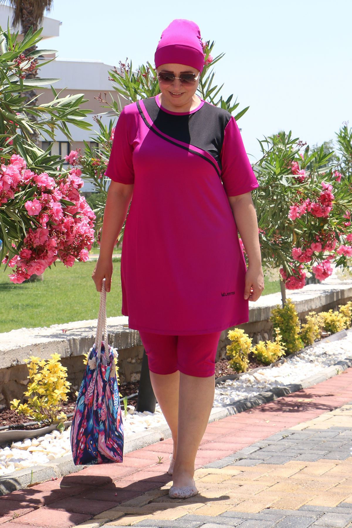 2335 Plus Size Front Striped Half Covered Swimsuit - Fuchsia