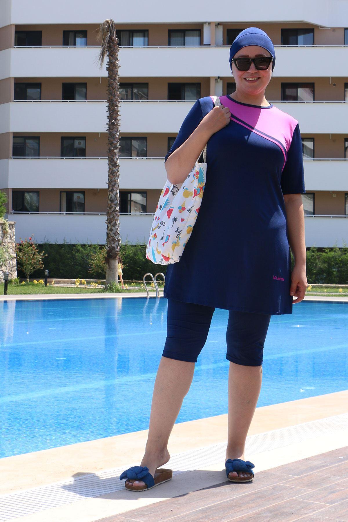 2335 ملابس سباحة  مقاس كبير نصف مغطى للمحجبات -  كحلي
