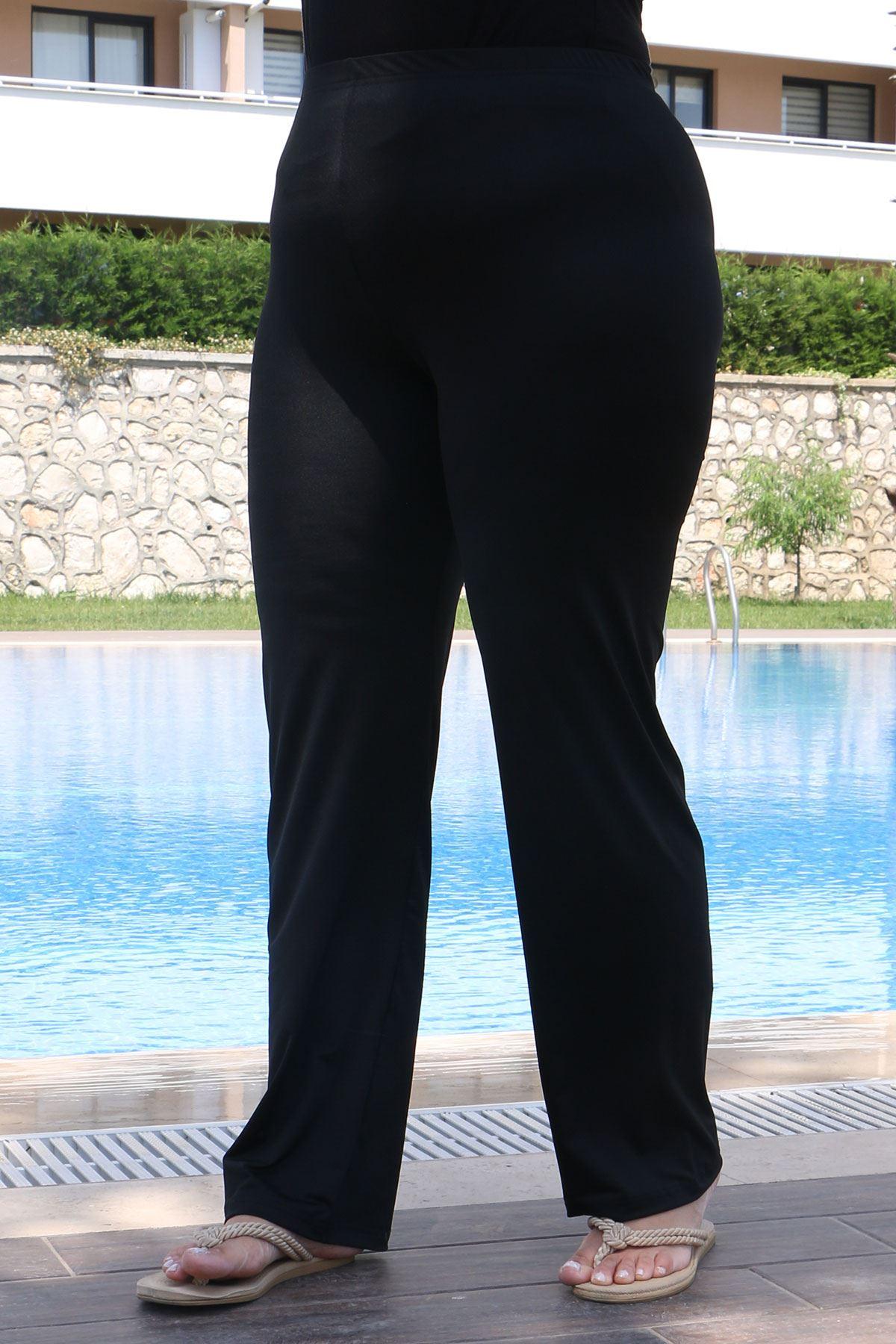 3425 Plus Size Hijab Swimsuit with Vest - Black
