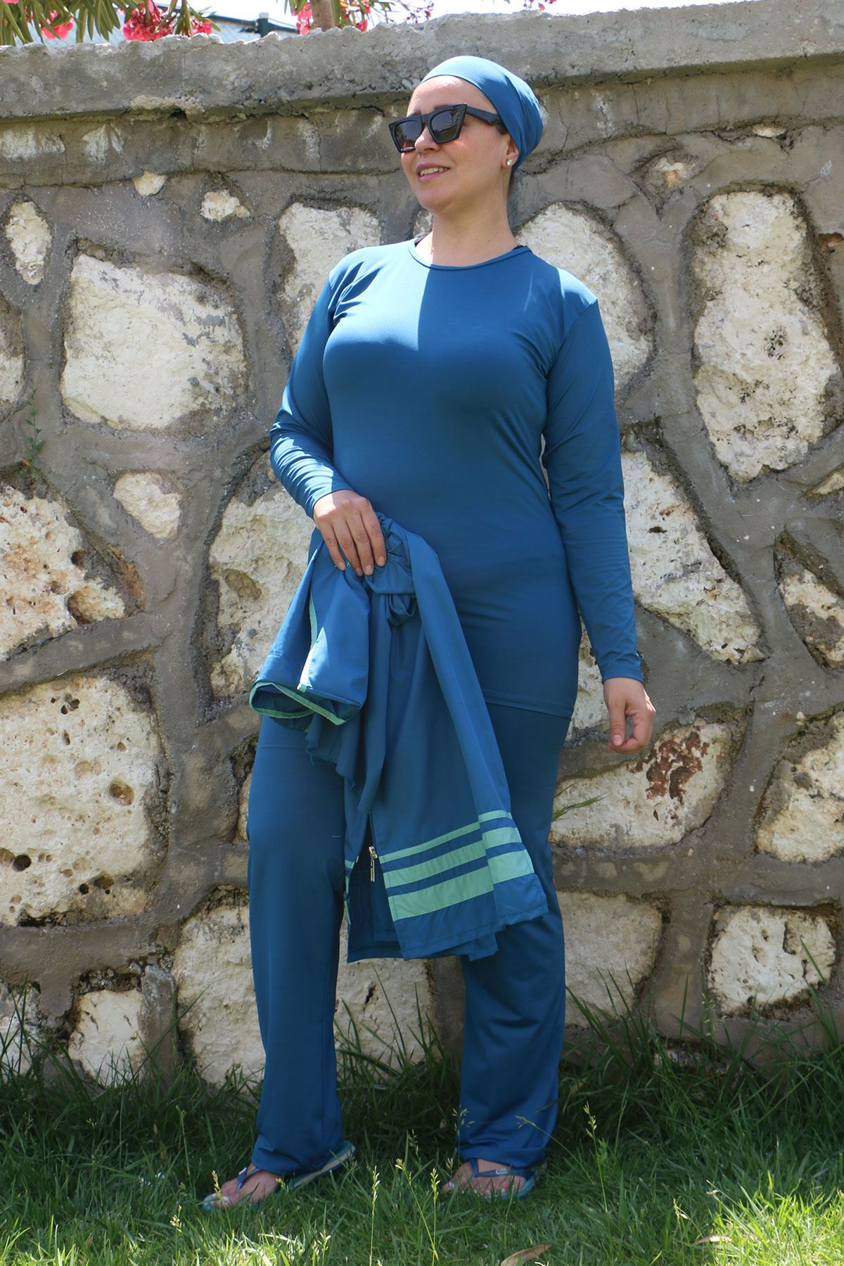 3425 Plus Size Hijab Swimsuit with Vest - Petrol