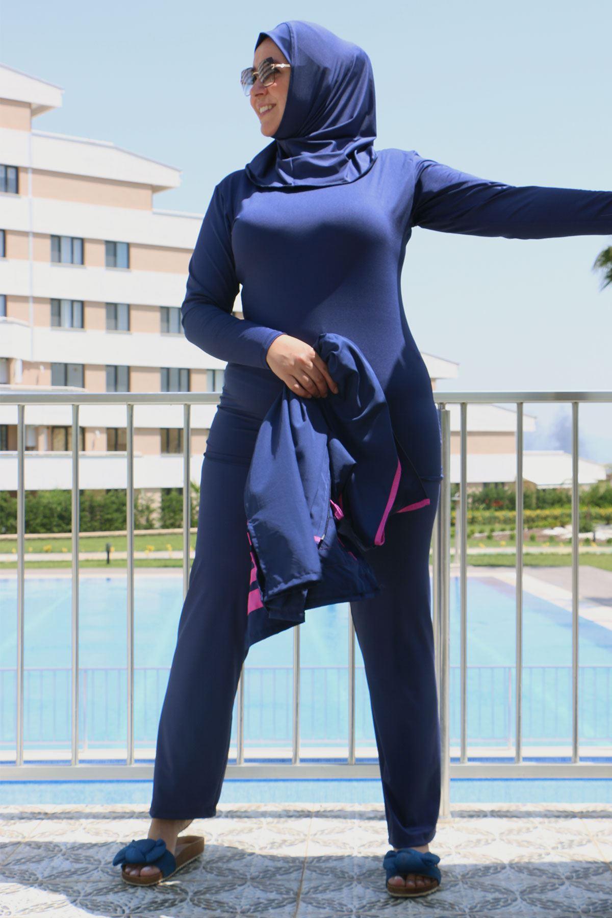 3425 ملابس سباحة مقاس كبير مع سترة بدون أكمام - كحلي