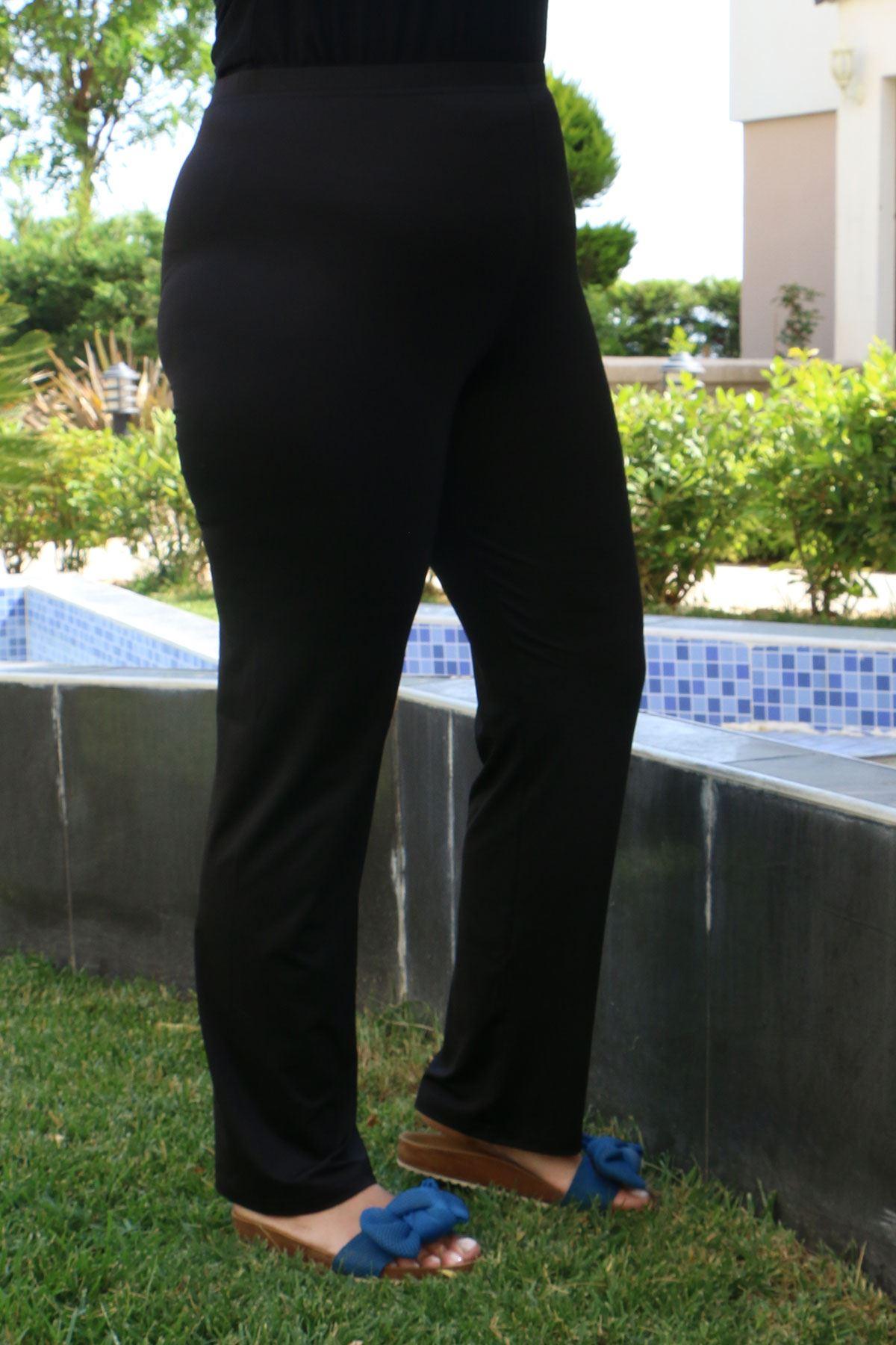 3205 Plus Size Front Striped Hijab Swimsuit - Black