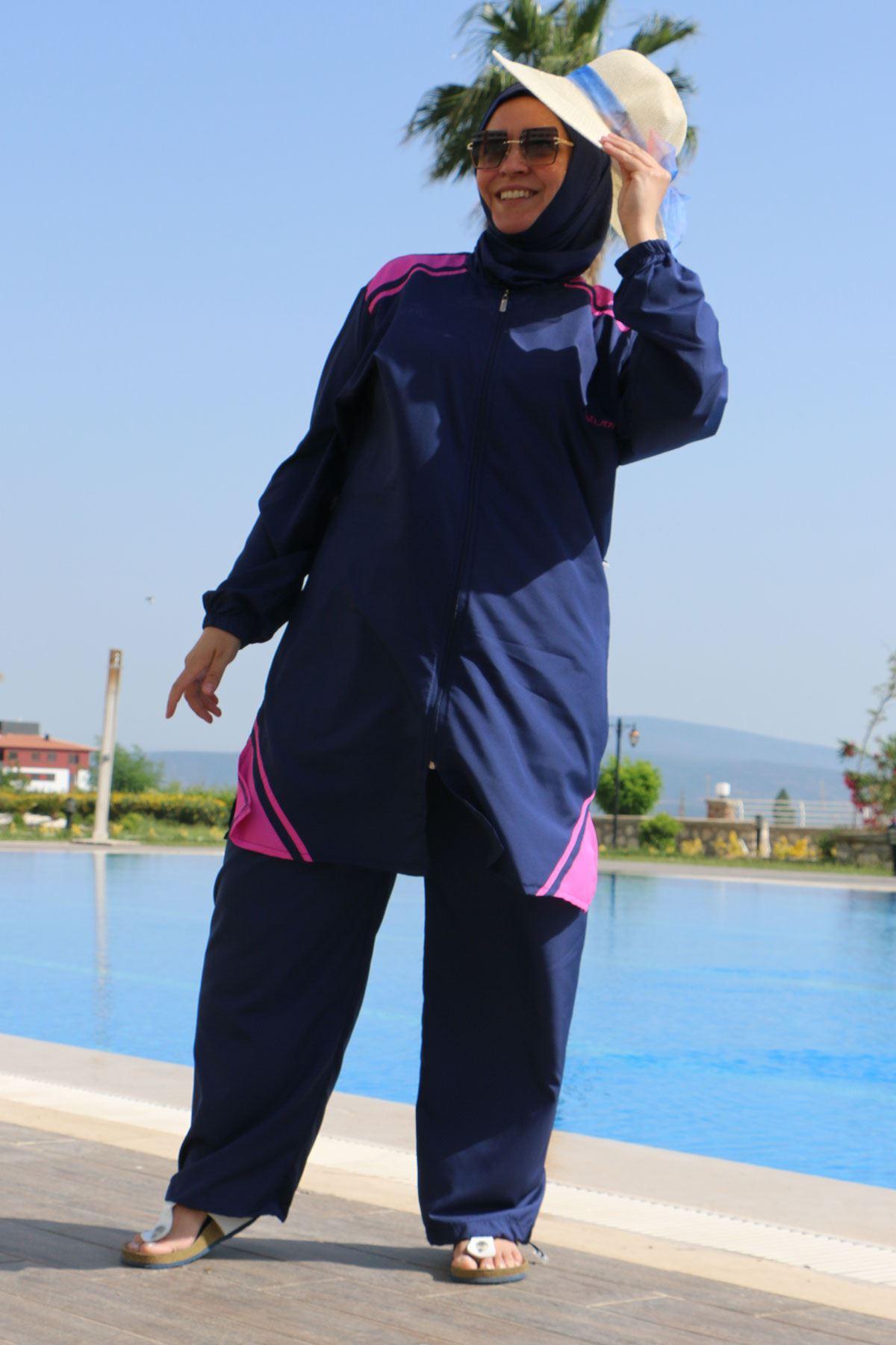 3405 ملابس السباحة بالساق مطاطي و مقاس كبير - كحلي