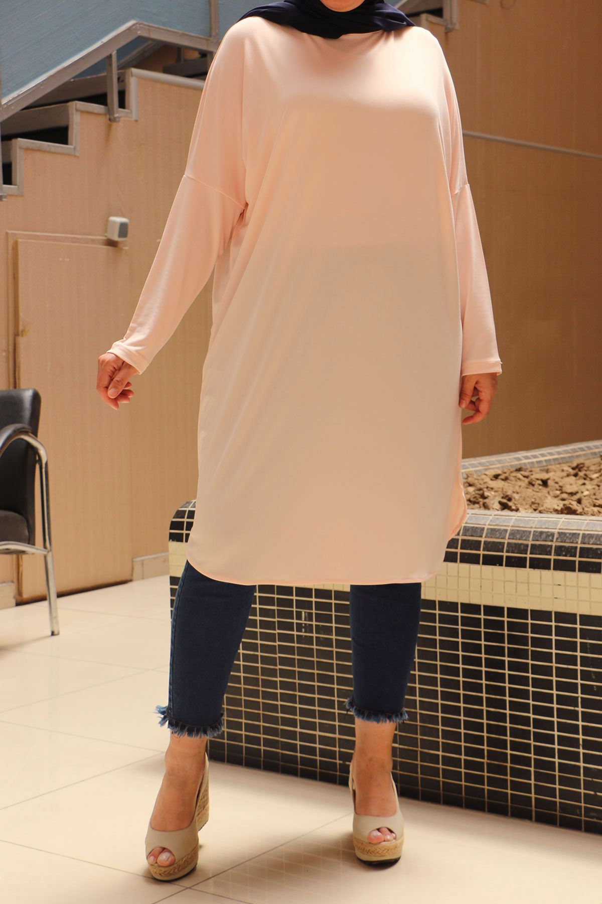 8459 Plus Size Tunic with Low Sleeve - Black