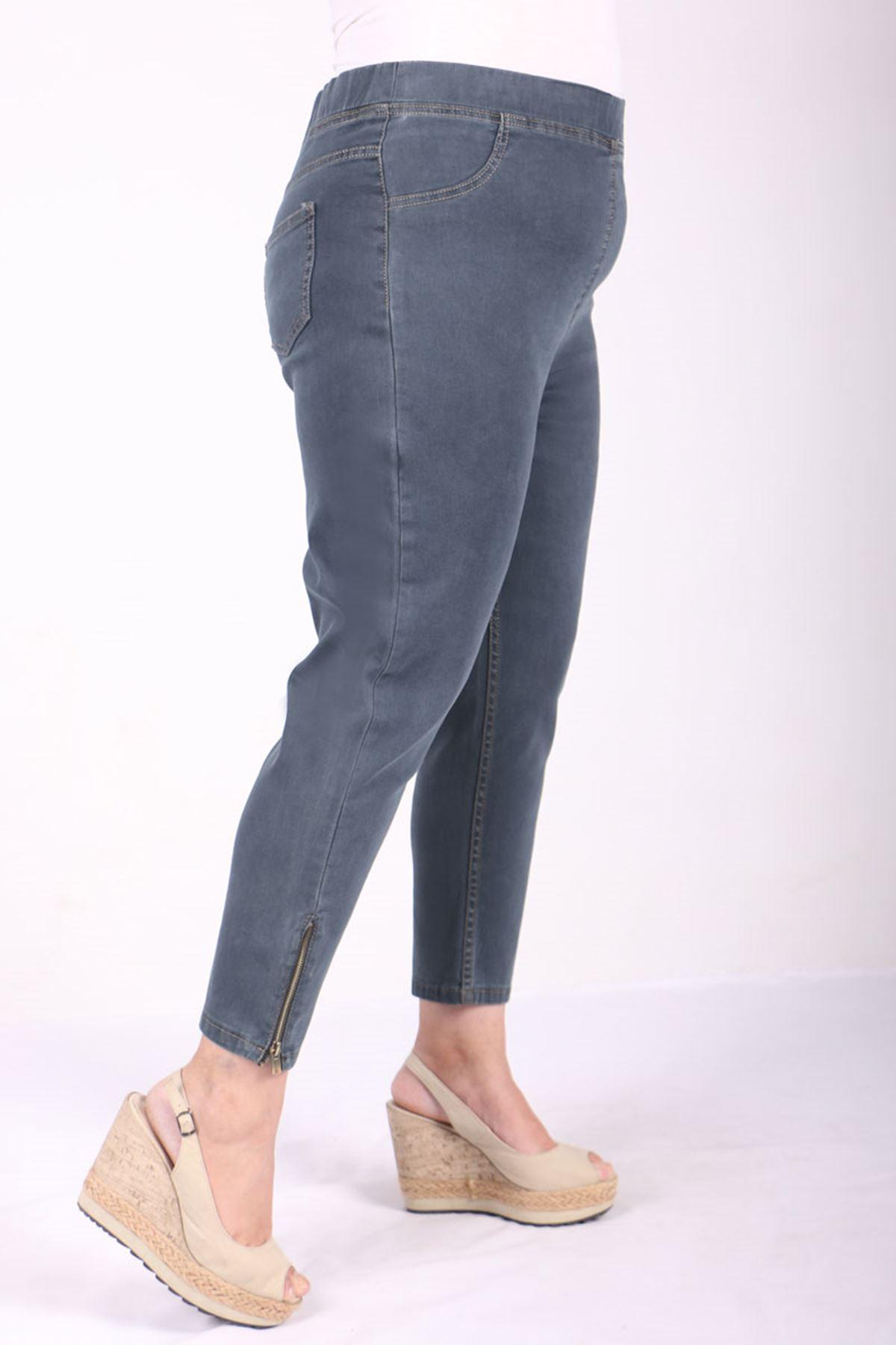 9121 Plus Size Elastic Waist Skinny Leg Jeans - Ice Blue