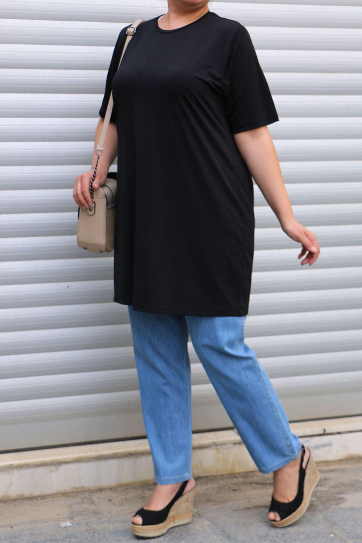 8533 Plus Size Printed T-Shirt - Black