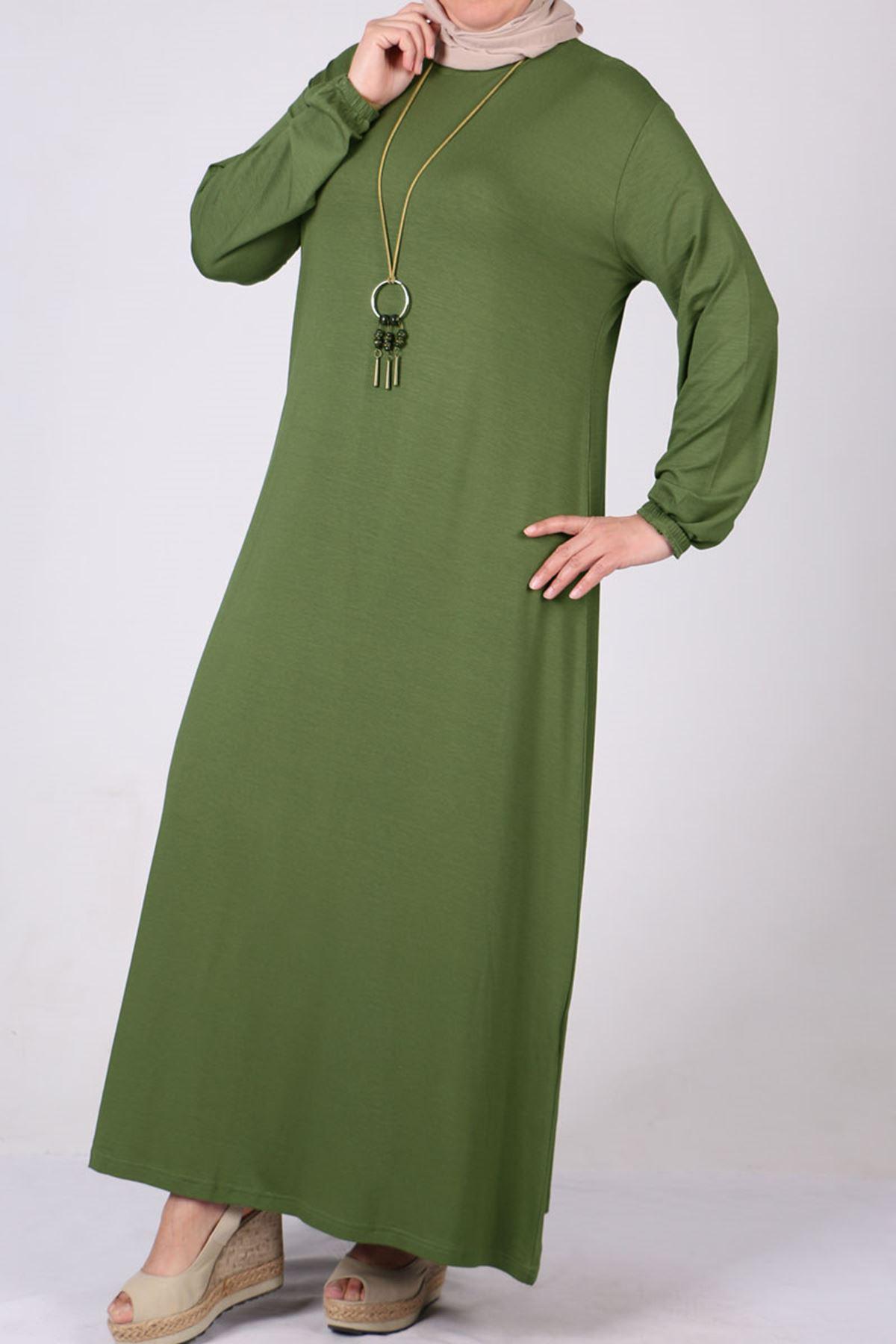 2035 Plus Size Elastic Sleeve Dress-Mink