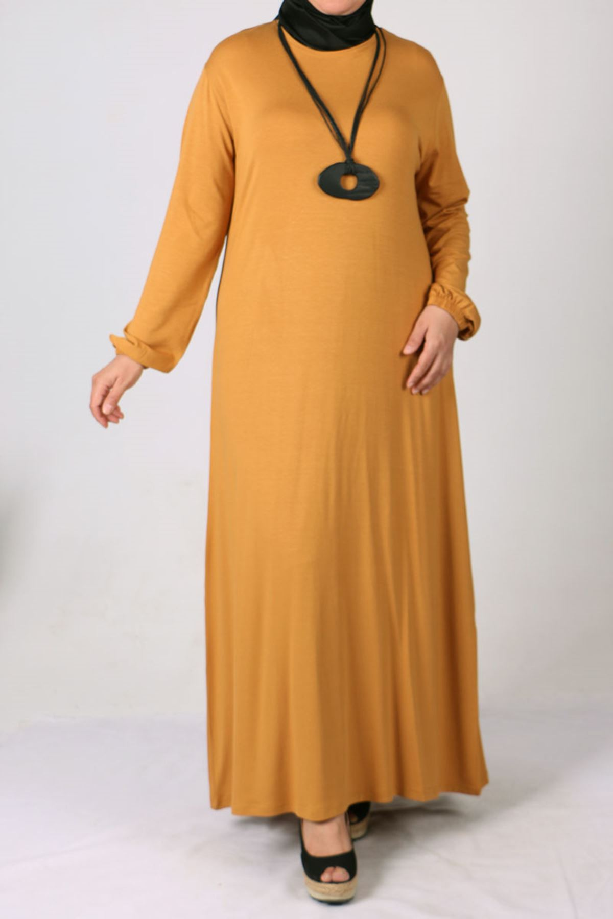2035 Büyük Beden Kolu Lastikli Penye Elbise-Safran