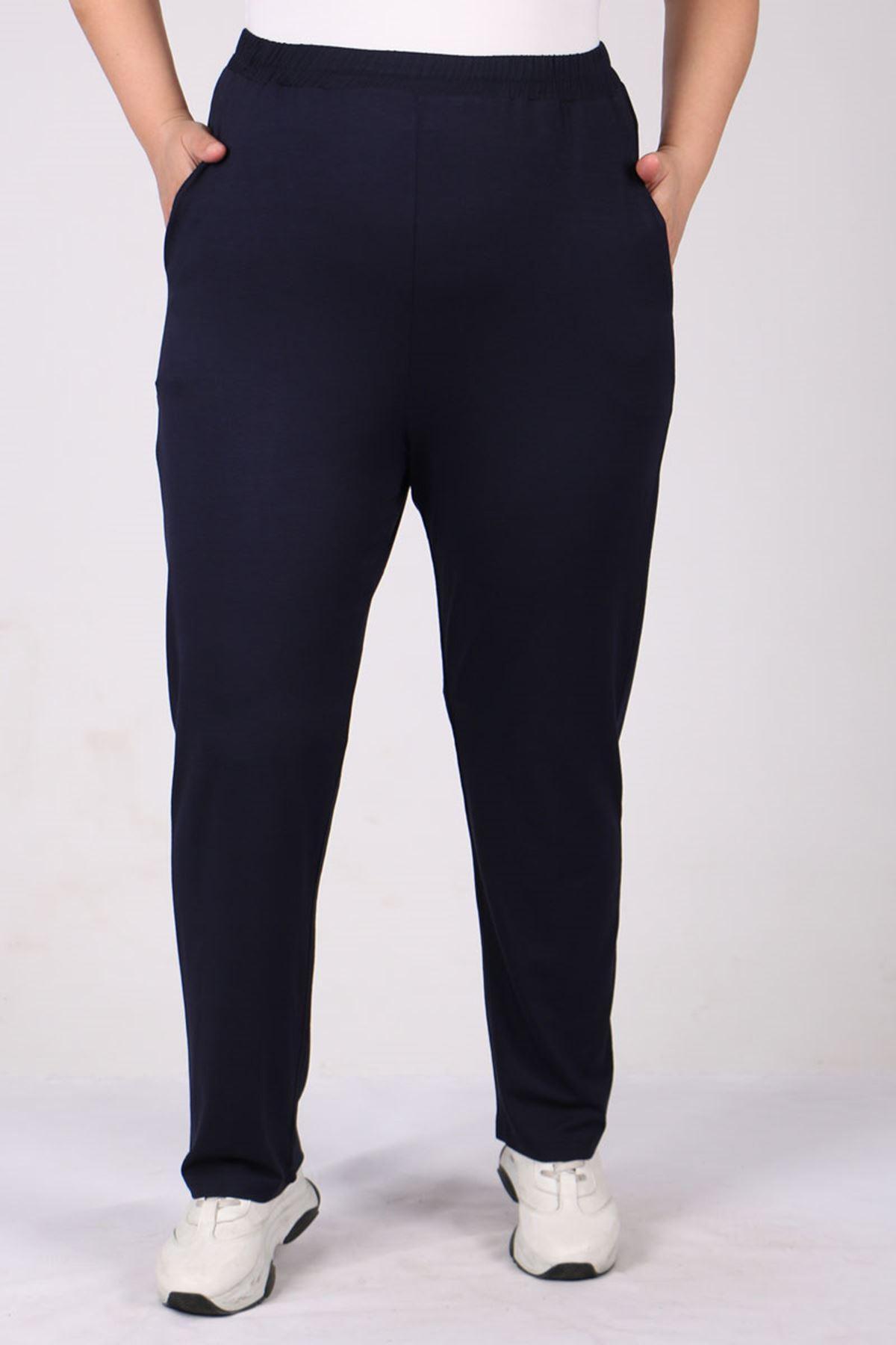 9160 Büyük Beden Penye Yüksek Bel Lastikli Pantolon - Lacivert