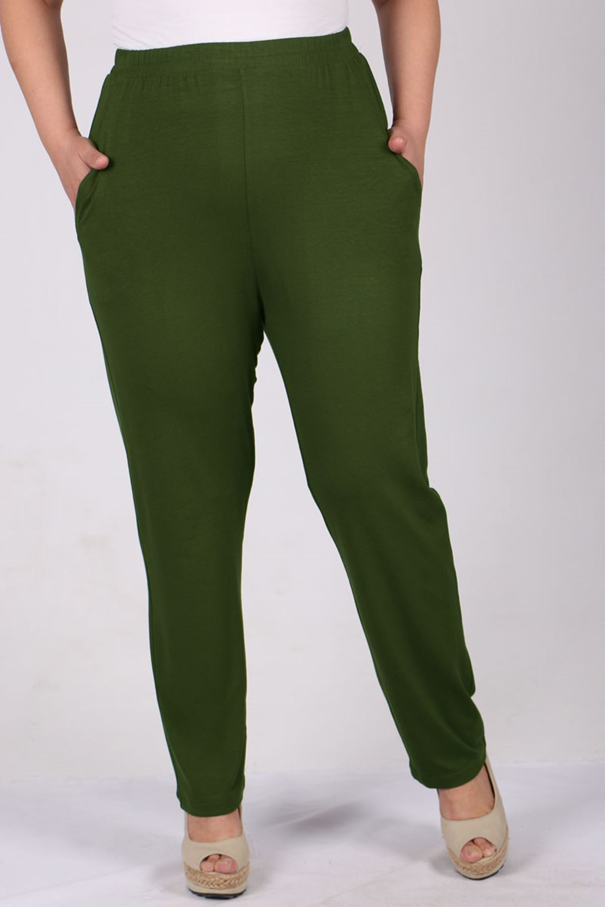 9160 Plus Size High Waist Elastic Pants - Khaki