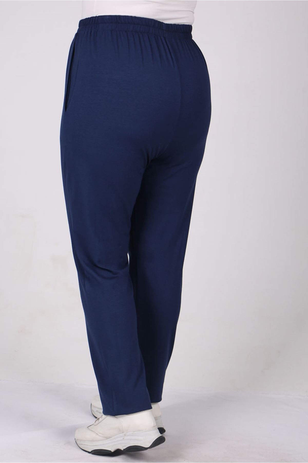 9160 Plus Size High Waist Elastic Pants - Indigo