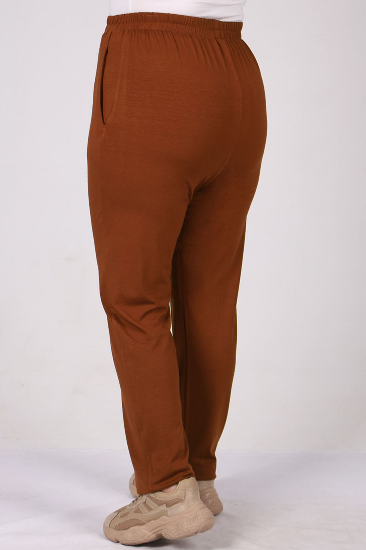 9160 Plus Size High Waist Elastic Pants - Terra Cotta