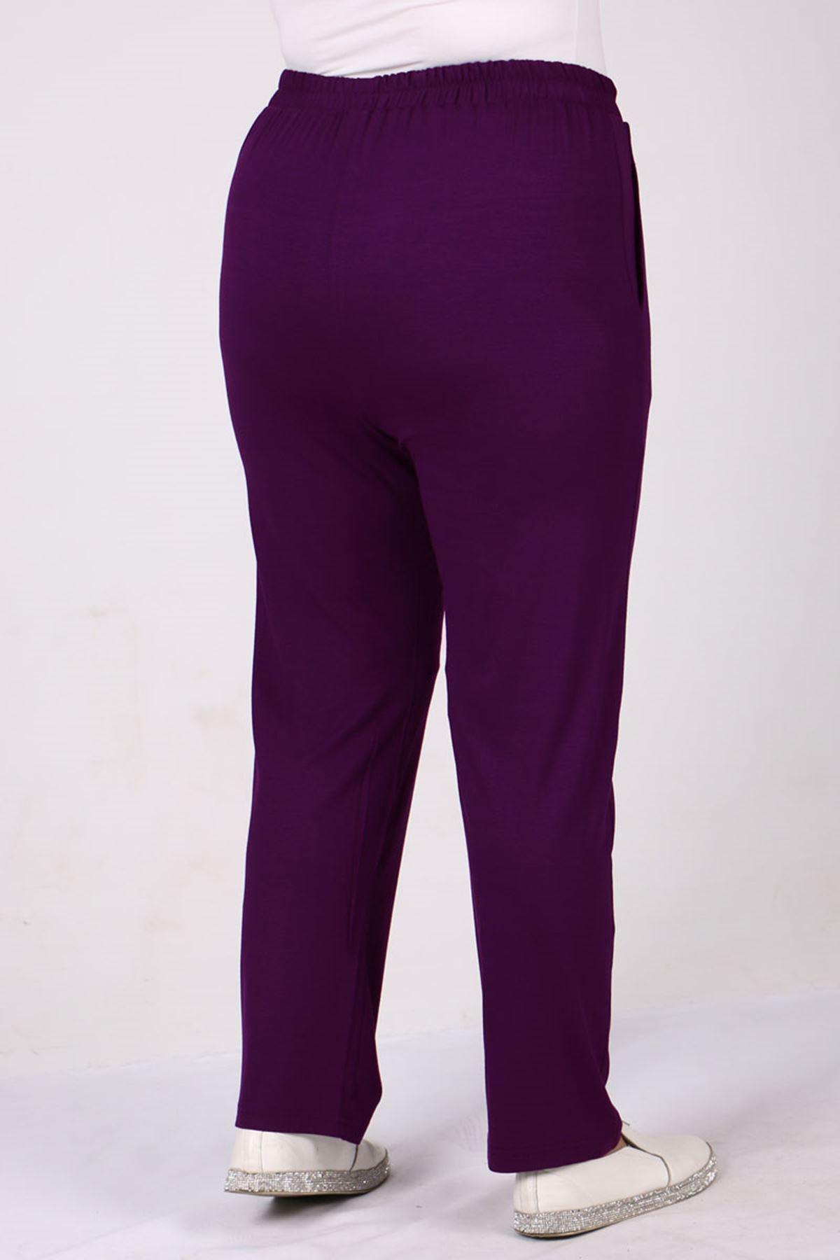 9160 Plus Size High Waist Elastic Pants - Purple