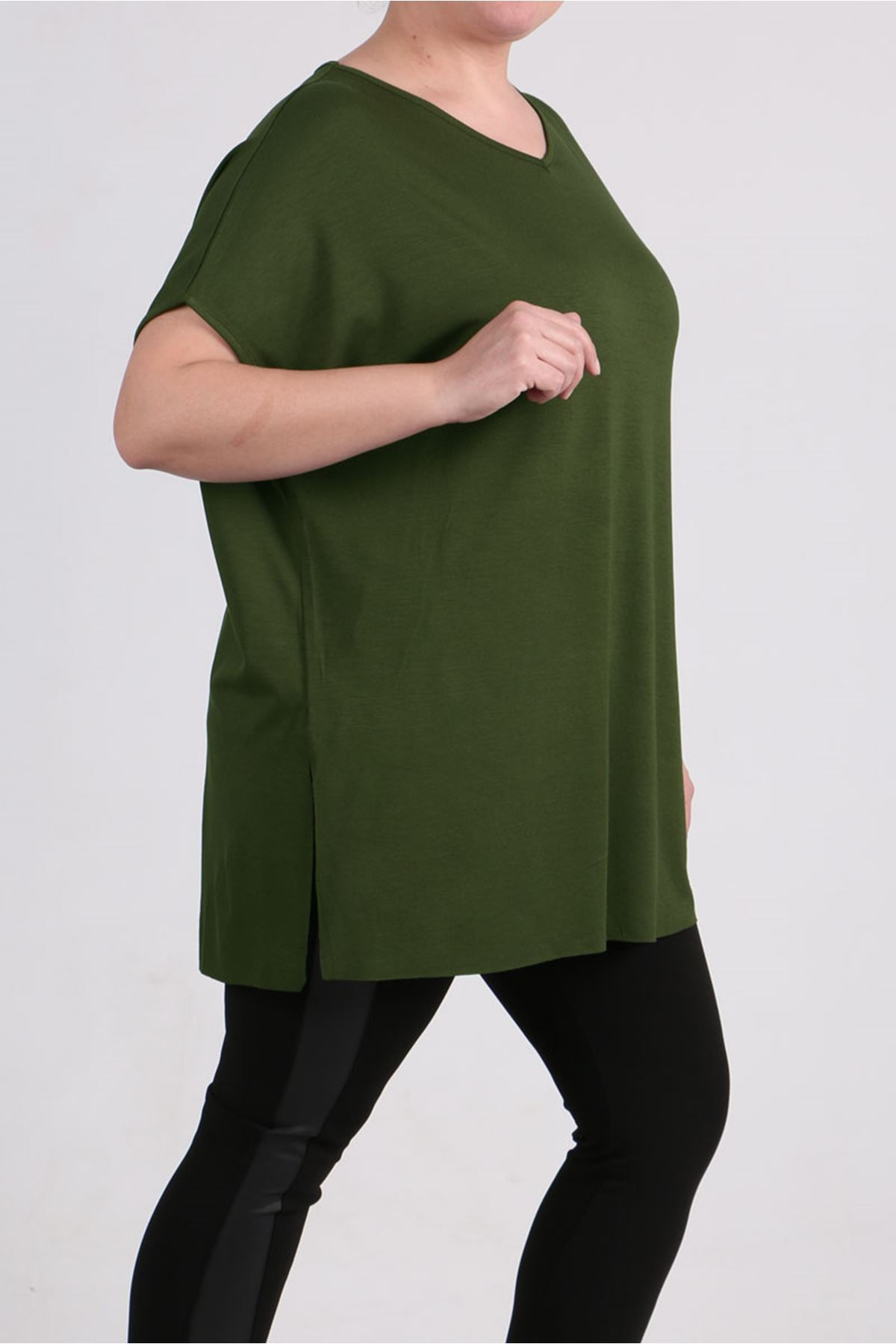 8528 Oversized Basic T-Shirt - Khaki