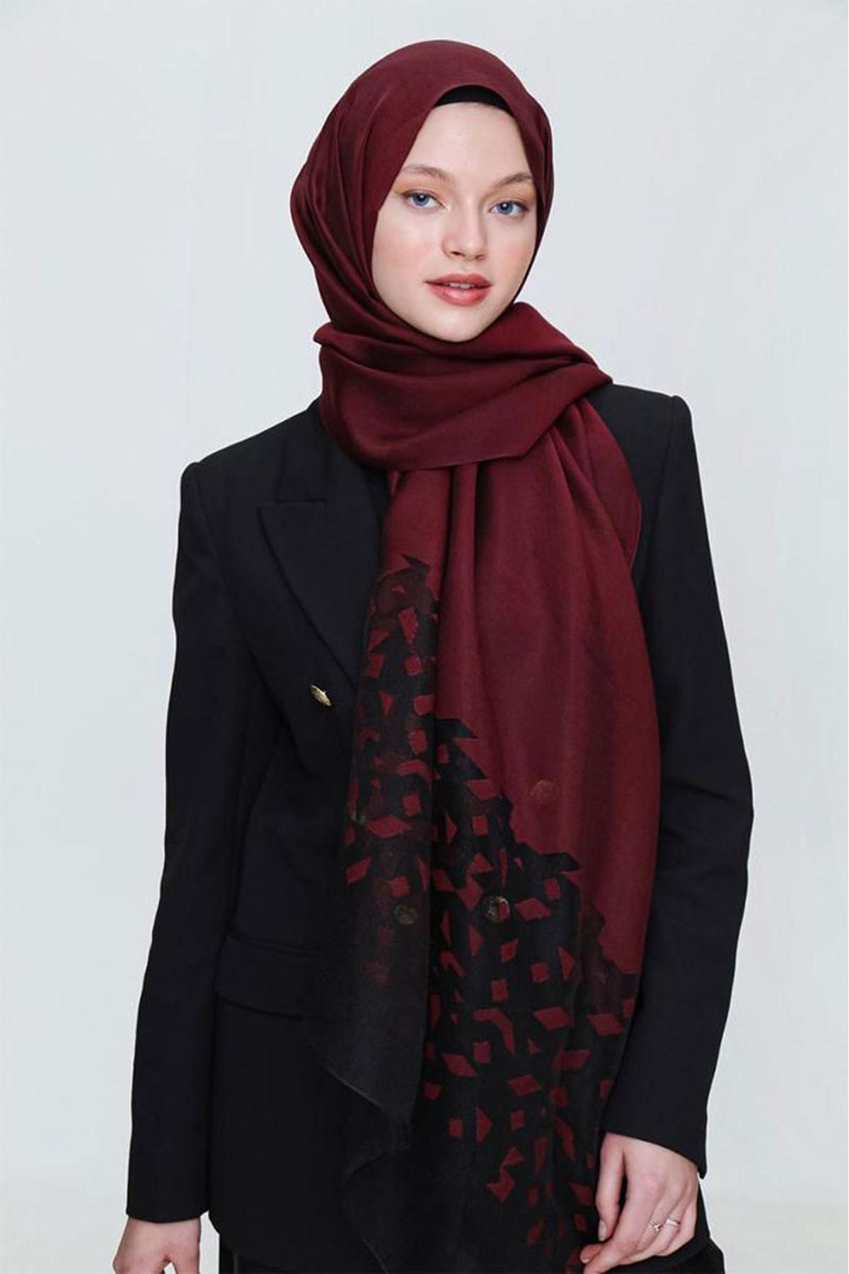 14025 Miray İbiza Shawl - Claret Red