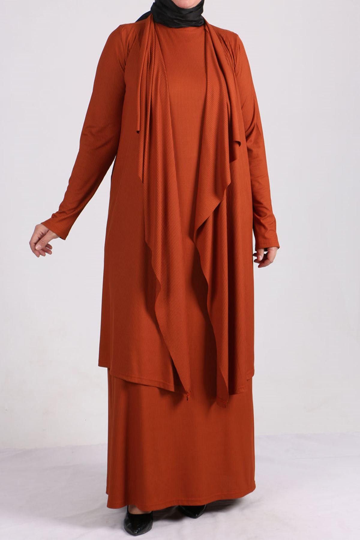 7201 طقم فستان و جاكيت مقاس كبير - قرميدي