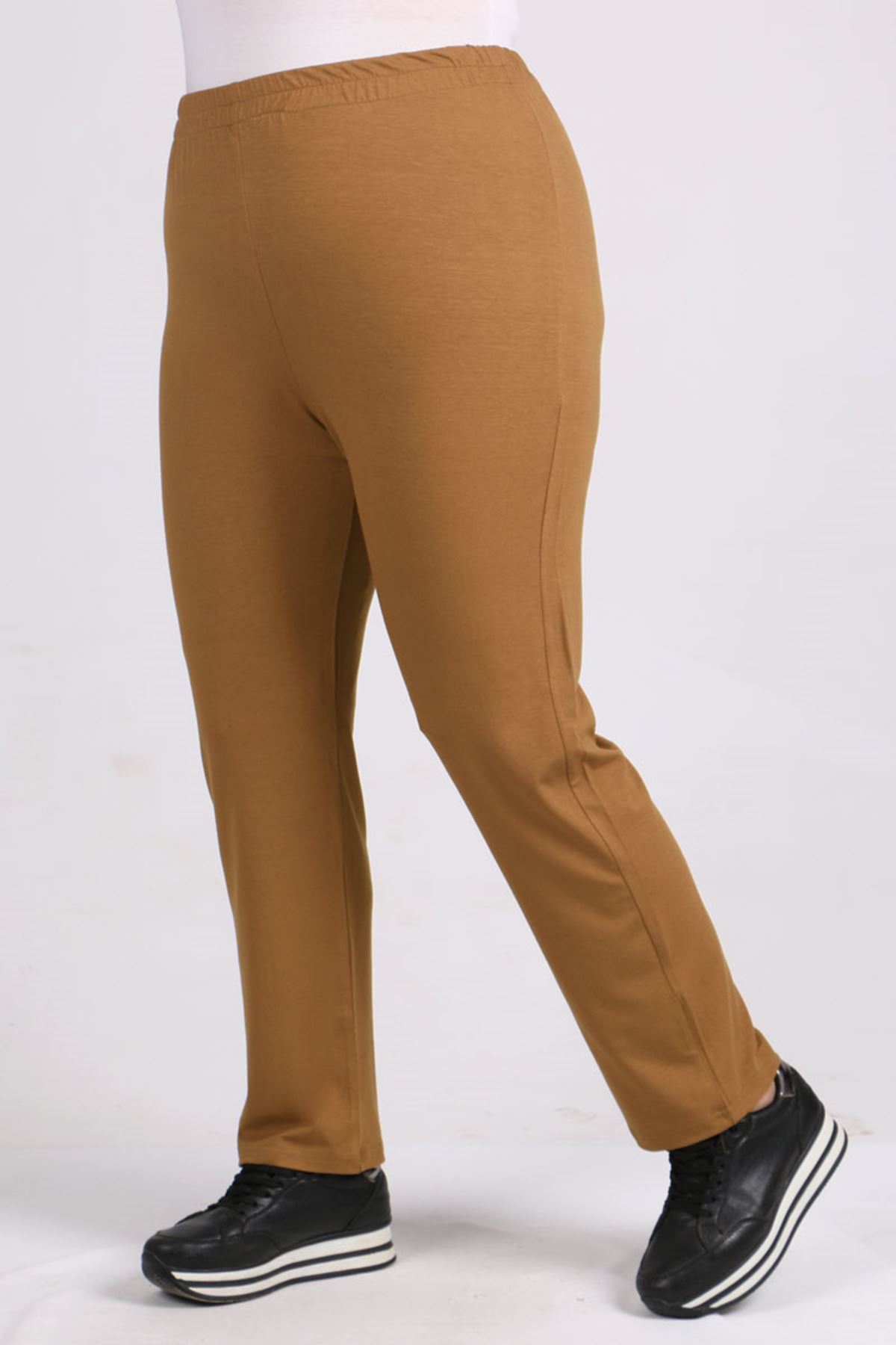 D-9057-3 Büyük Beden Defolu Yüksel Bel Lastikli Penye Pantalon -Kahve