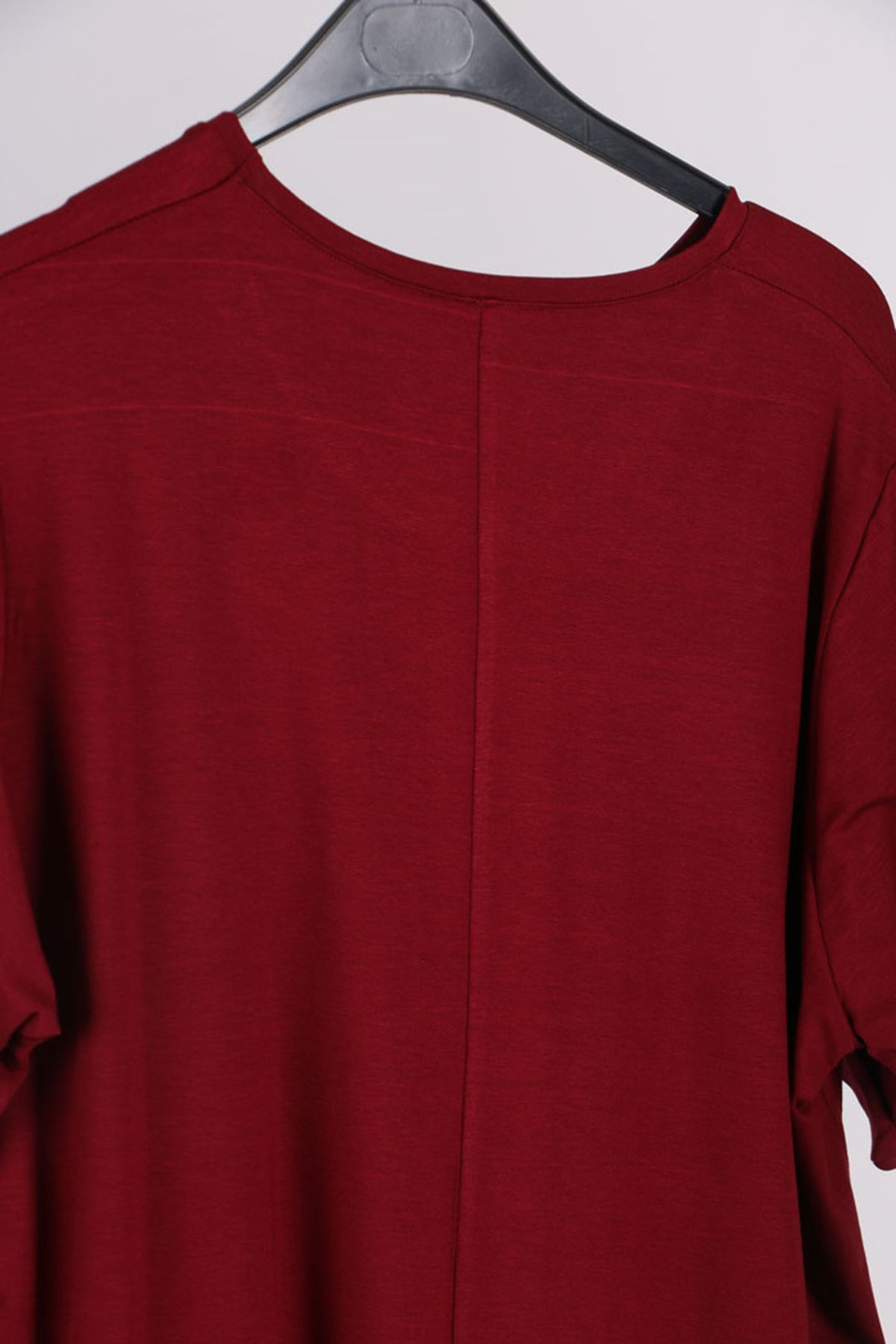 D-8529-1 Büyük Beden Penye Defolu Basic Tişört - Bordo