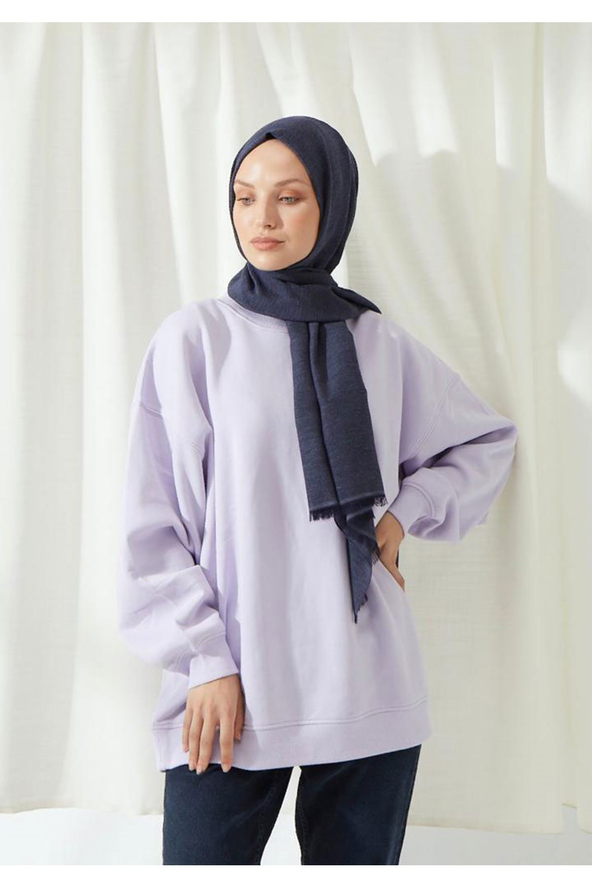 14027 Cotton Shawl - Denim Blue