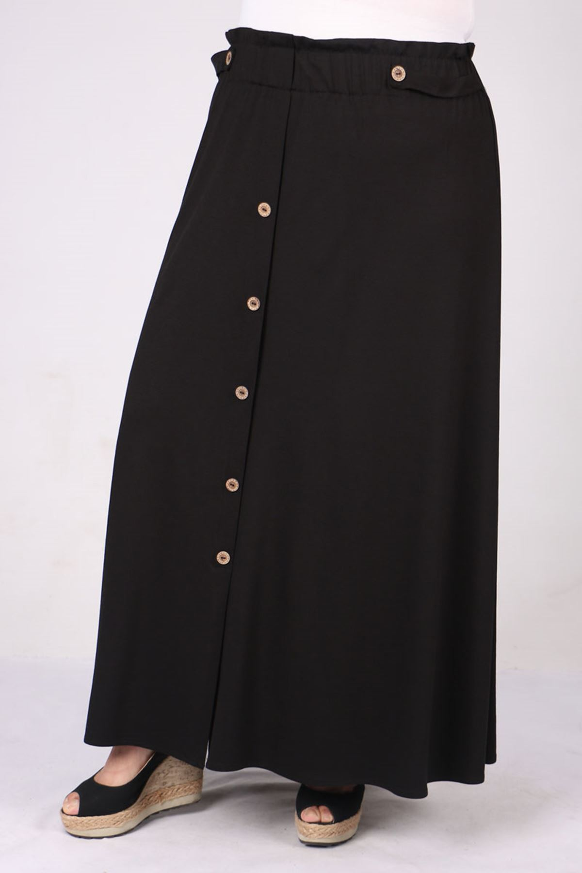 5046 Plus Size Elastic Waist Skirt with Button - Black