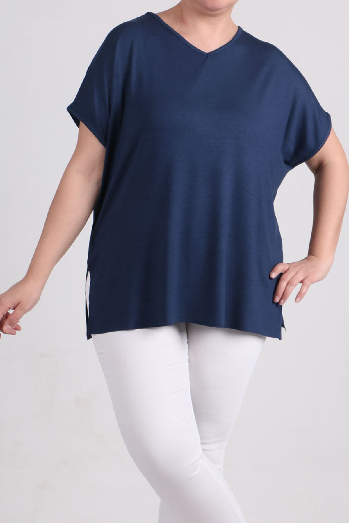 8528 Plus Size Basic T-Shirt - Indigo