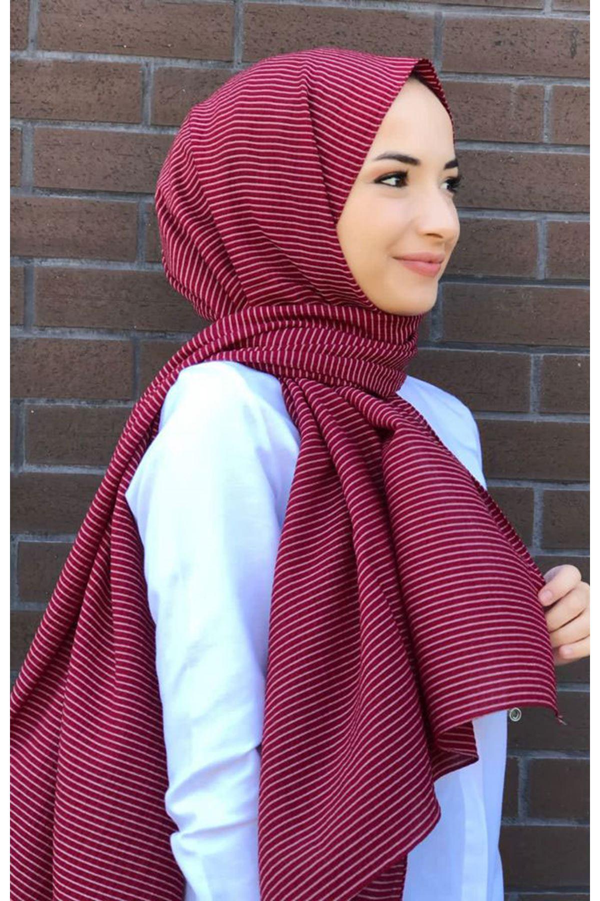 14028 Striped Shawl - Claret Red